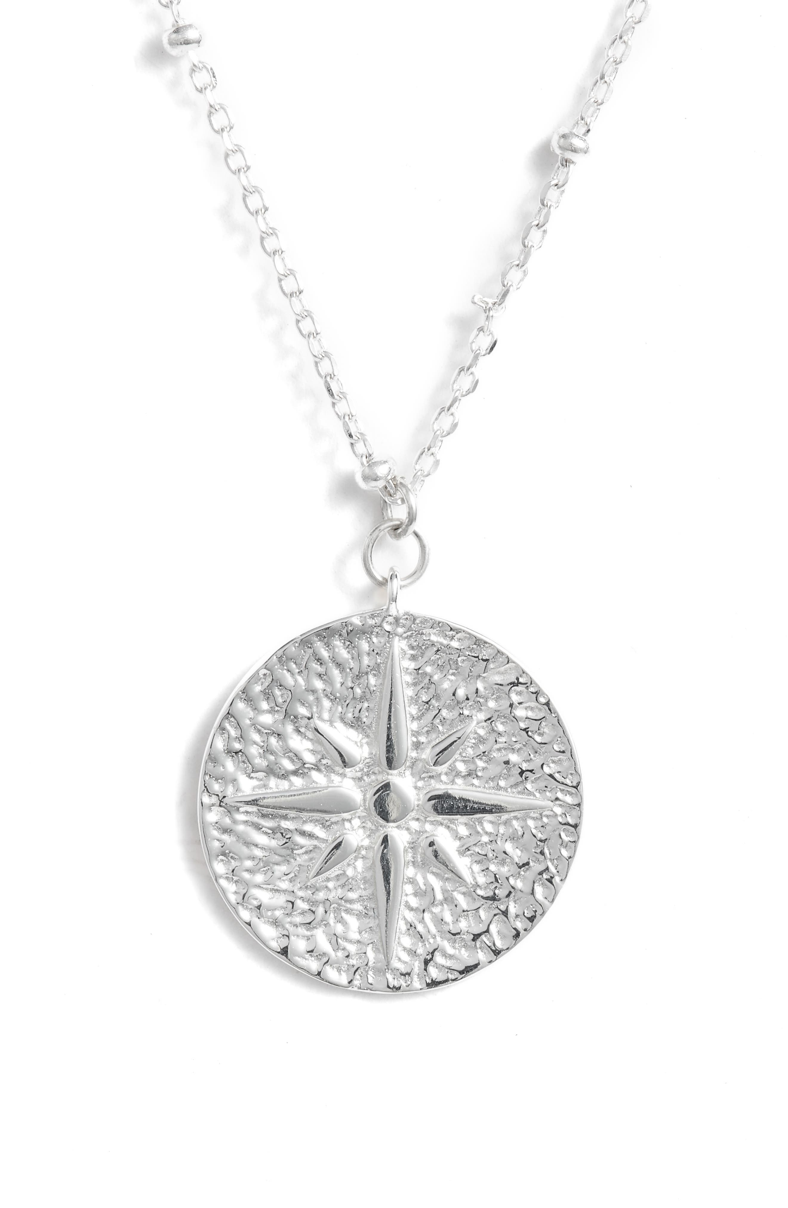 North Star Medallion Necklace,                         Main,                         color, SILVER