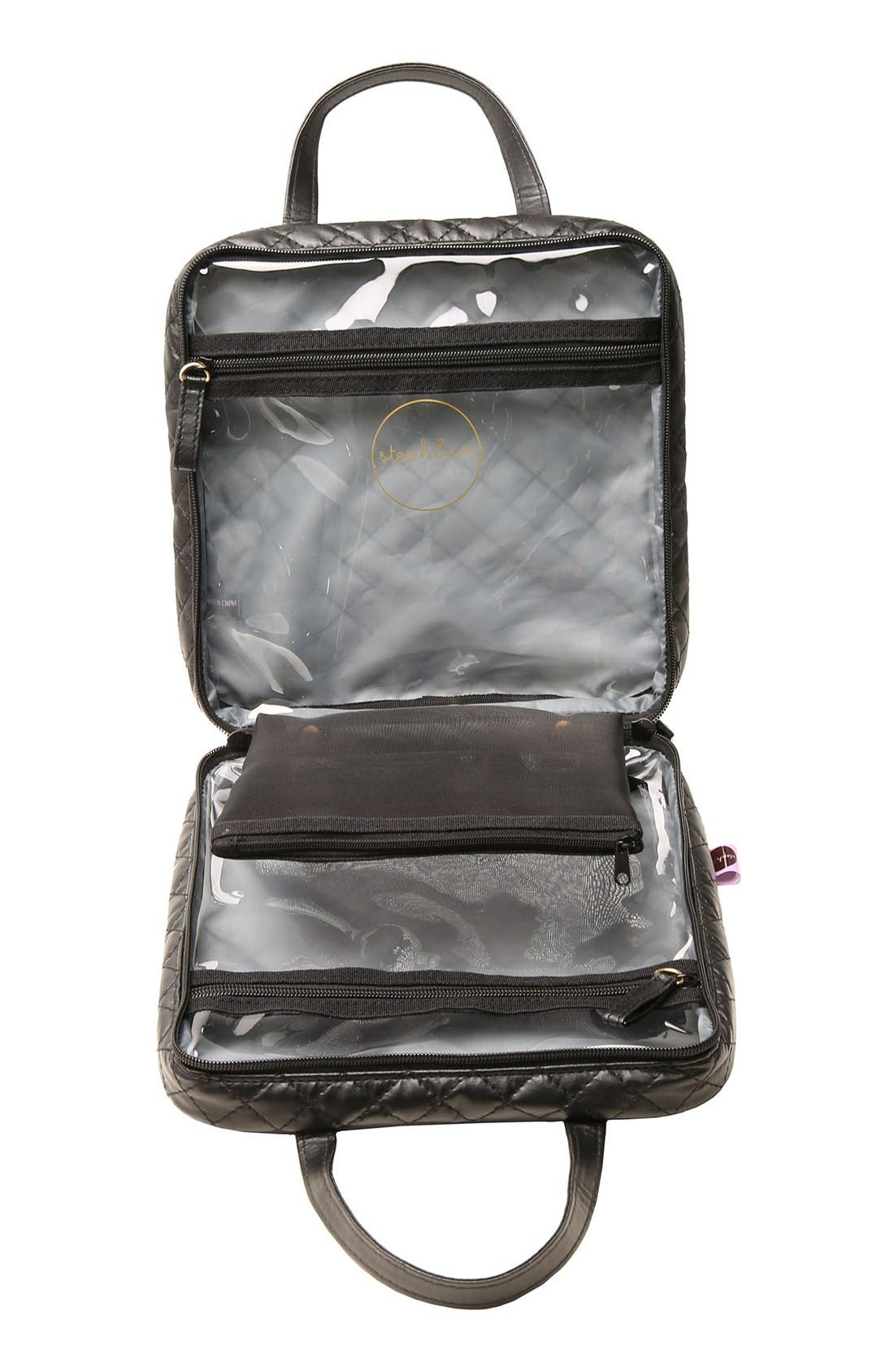 'Marissa' Black Quilted Cosmetics Case,                             Alternate thumbnail 4, color,                             000