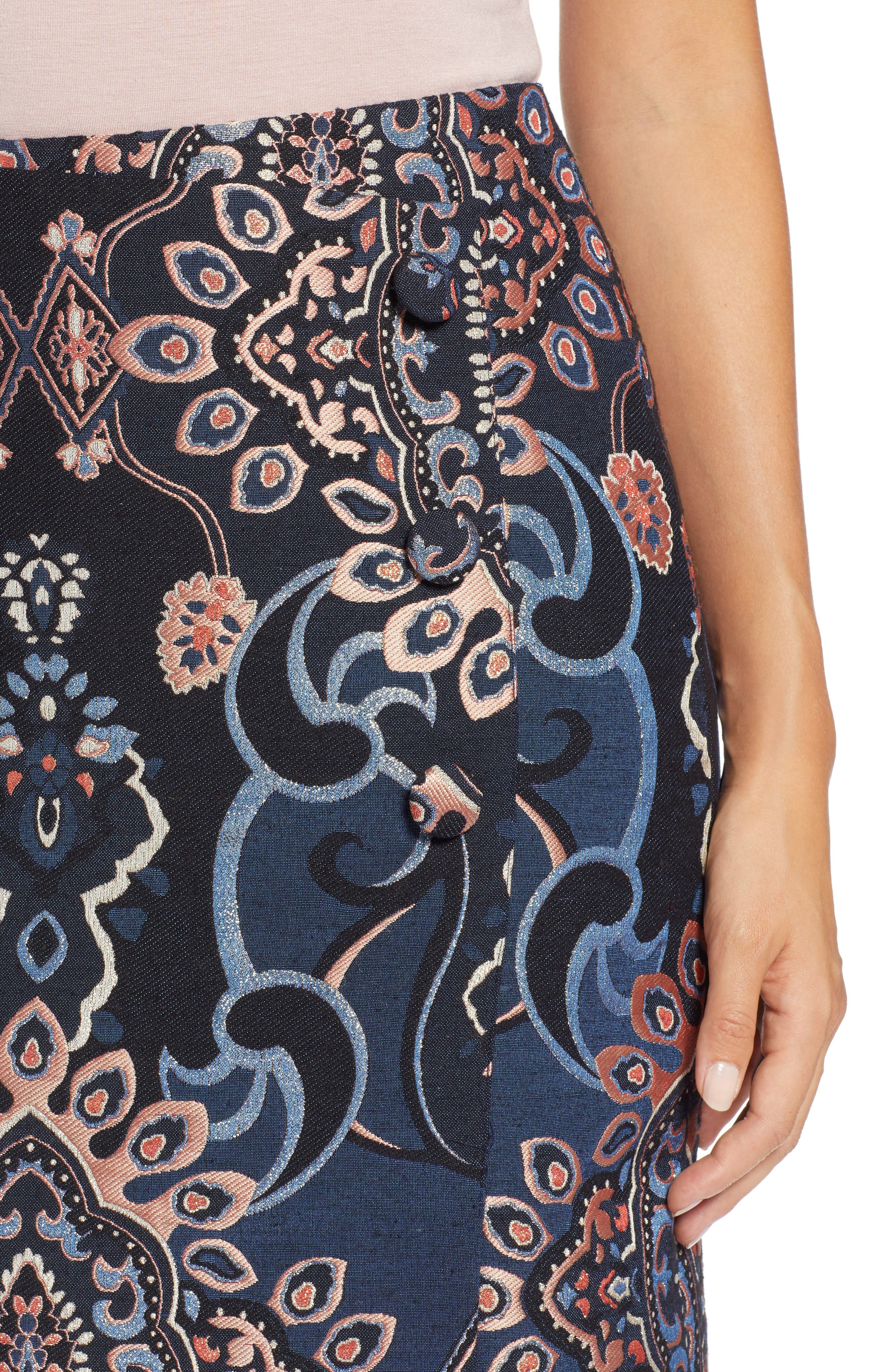 Button Detail Skirt,                             Alternate thumbnail 4, color,                             NAVY MULTI BROCADE