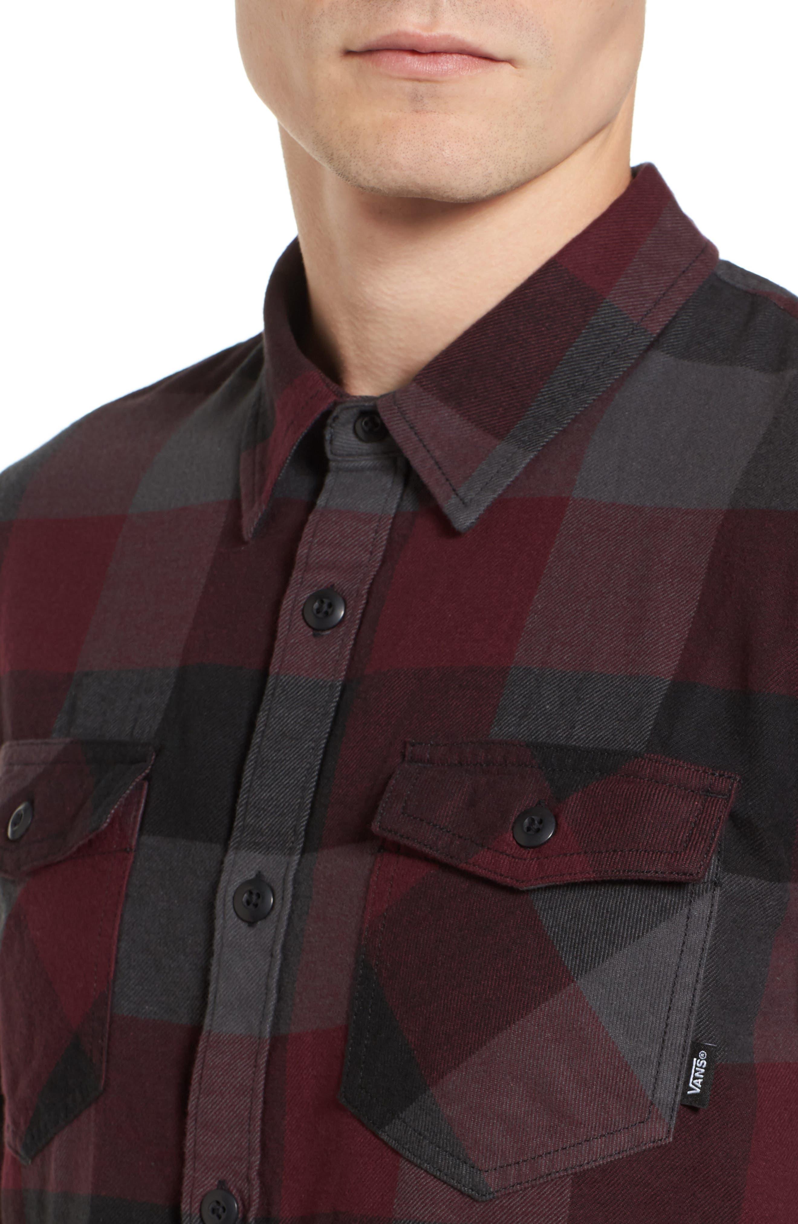 Trim Fit Check Flannel Woven Shirt,                             Alternate thumbnail 18, color,