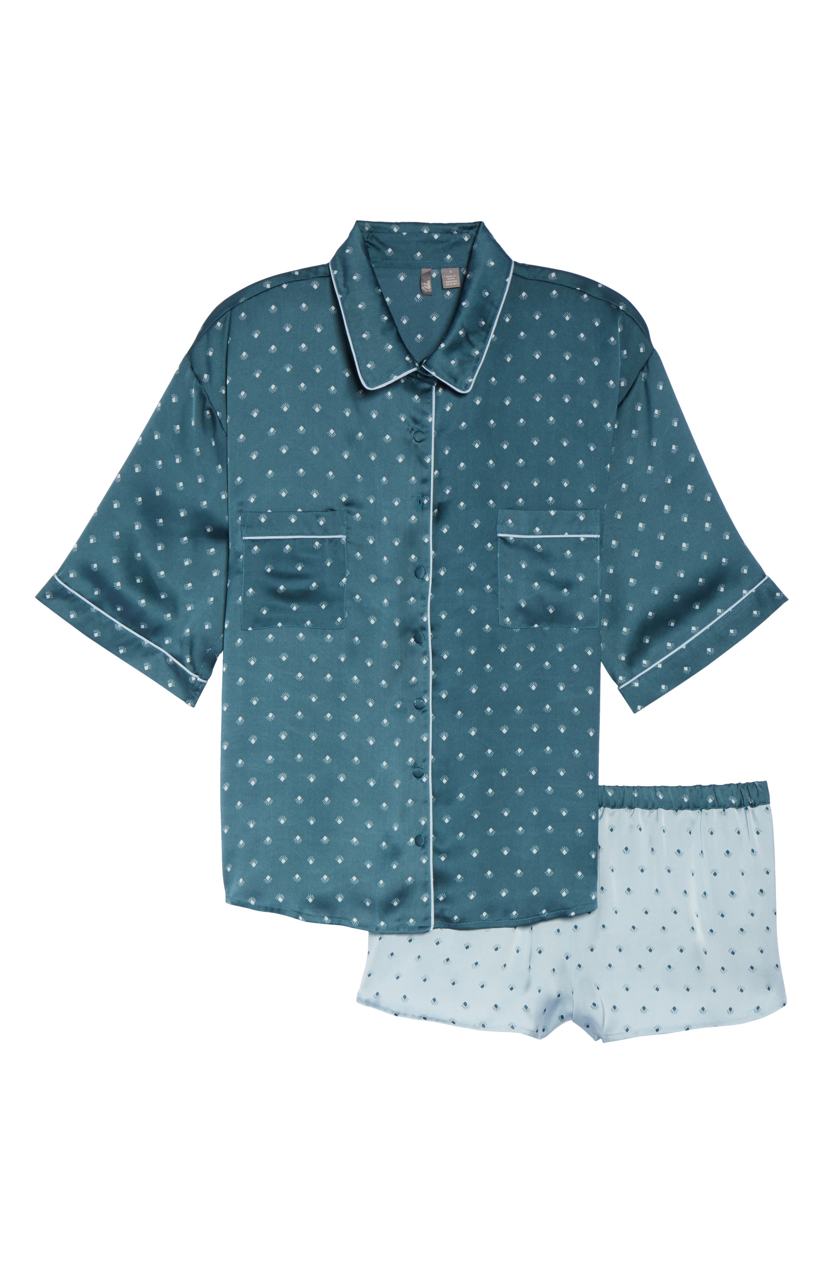 Short Satin Pajamas,                             Alternate thumbnail 17, color,