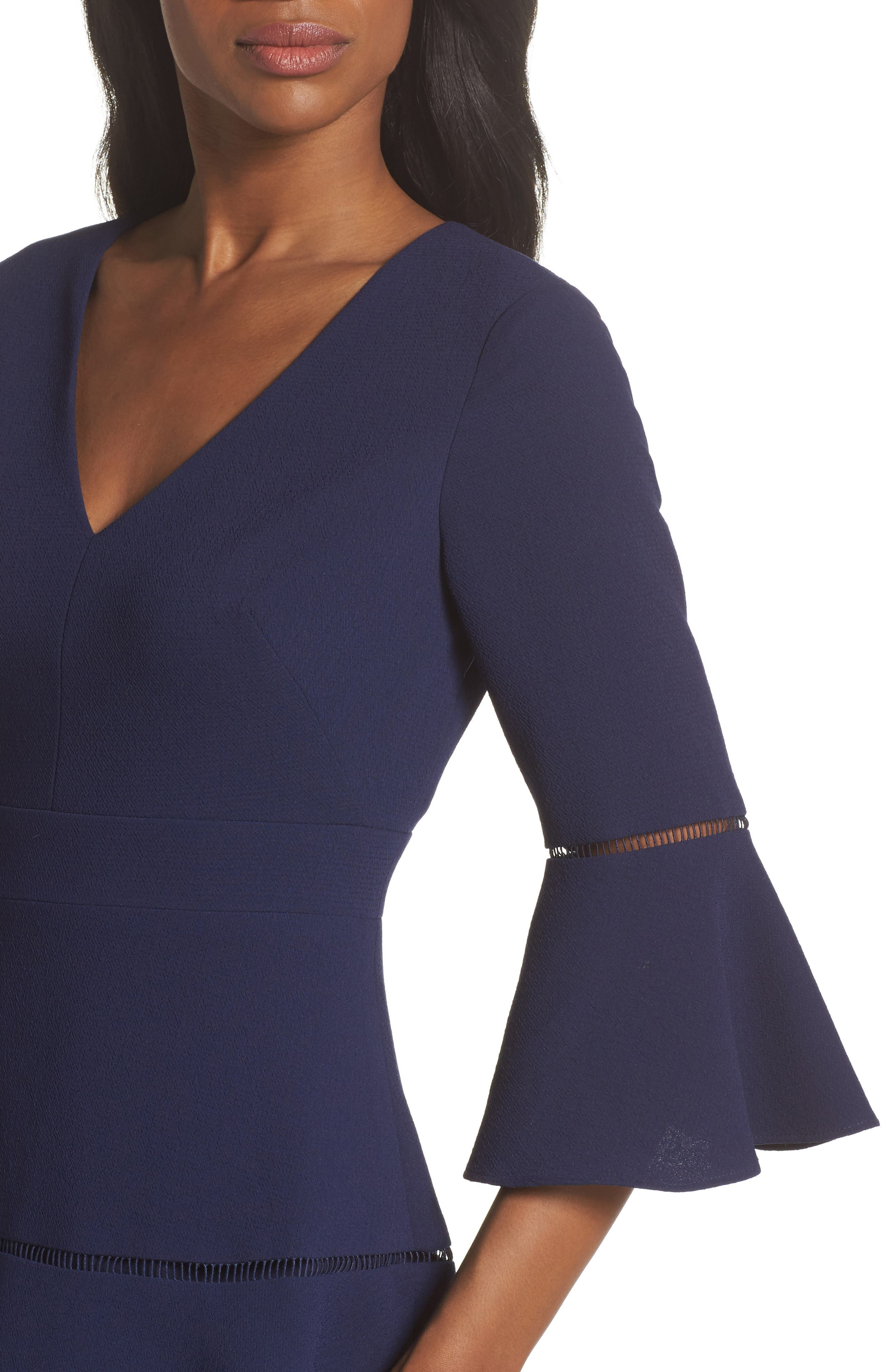 Lace Inset Fit & Flare Dress,                             Alternate thumbnail 4, color,                             NAVY