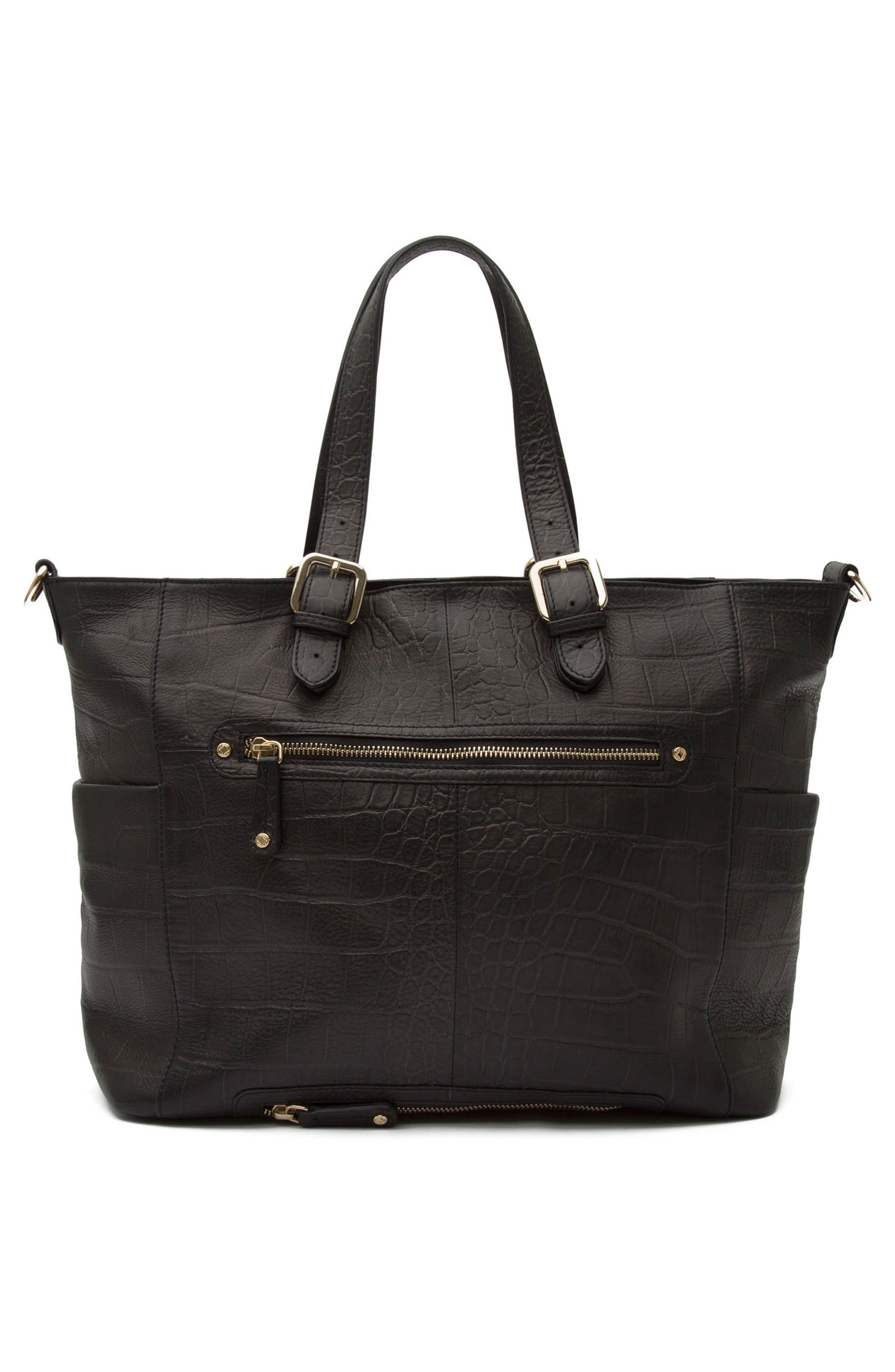 Francis Croc Embossed Leather Diaper Bag,                             Alternate thumbnail 3, color,                             001