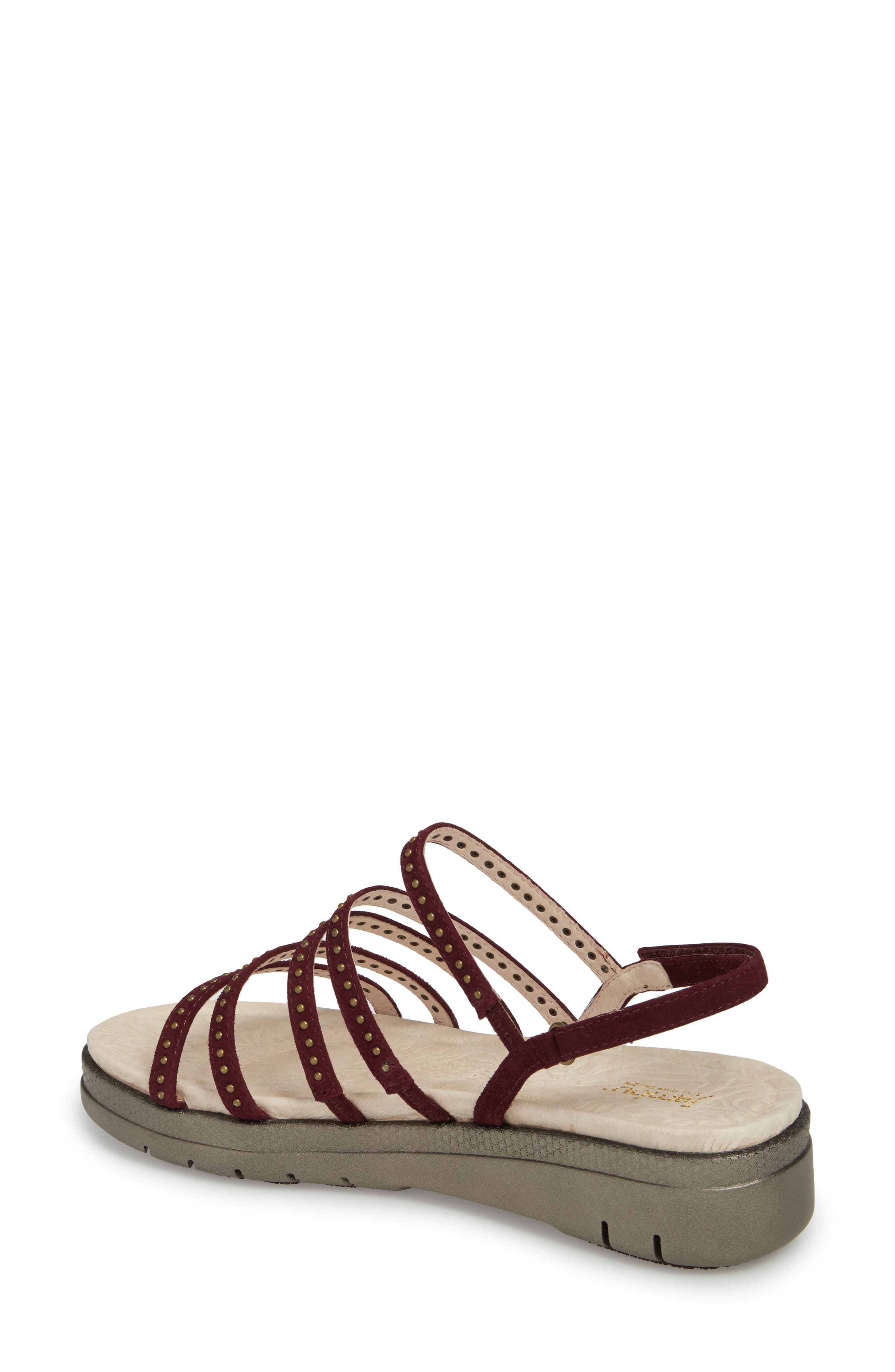 Elegance Studded Strappy Sandal,                             Alternate thumbnail 2, color,                             WINE SUEDE