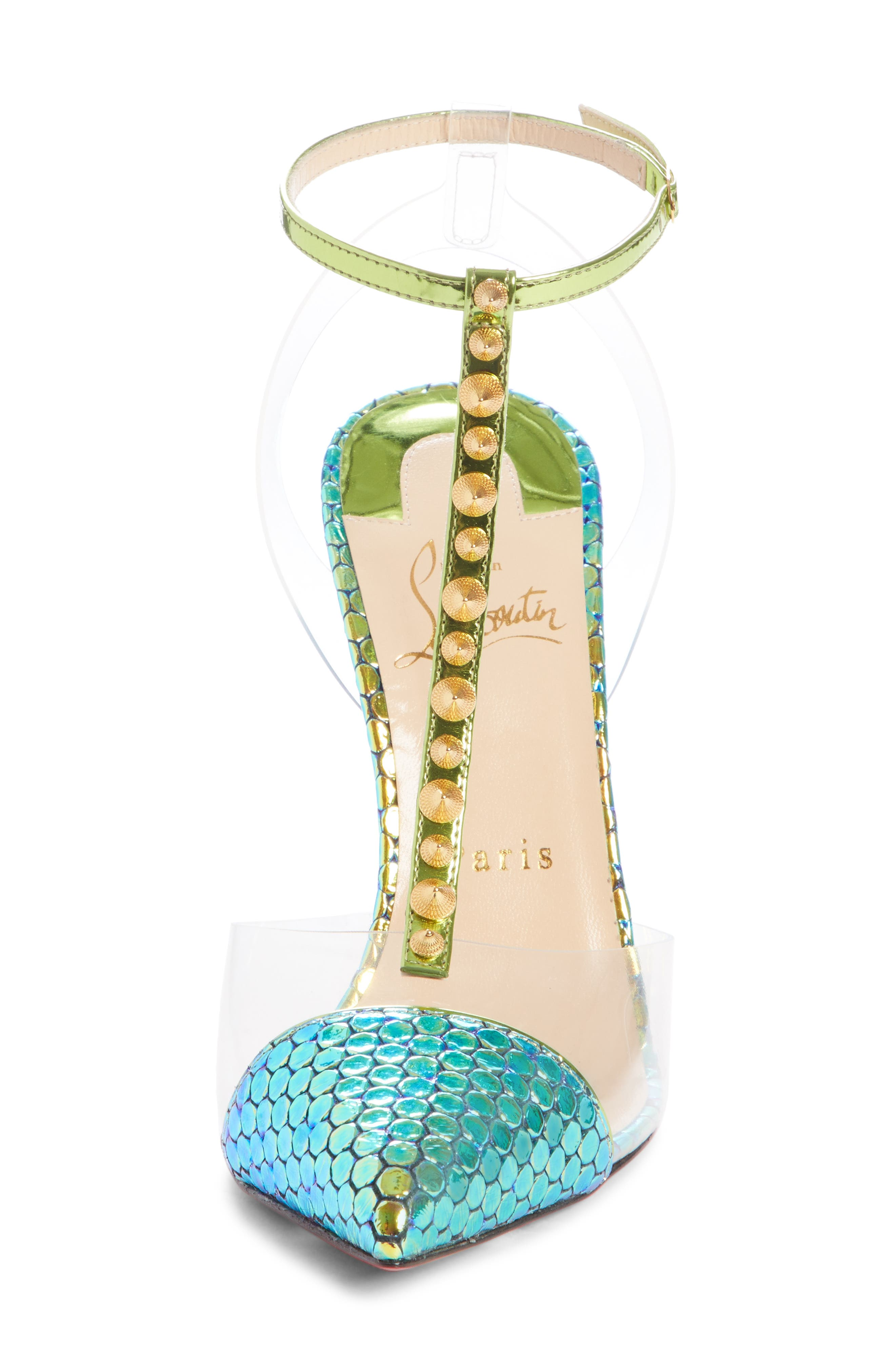 Nosy Spikes T-Strap Pump,                             Alternate thumbnail 4, color,                             TAIGA GREEN