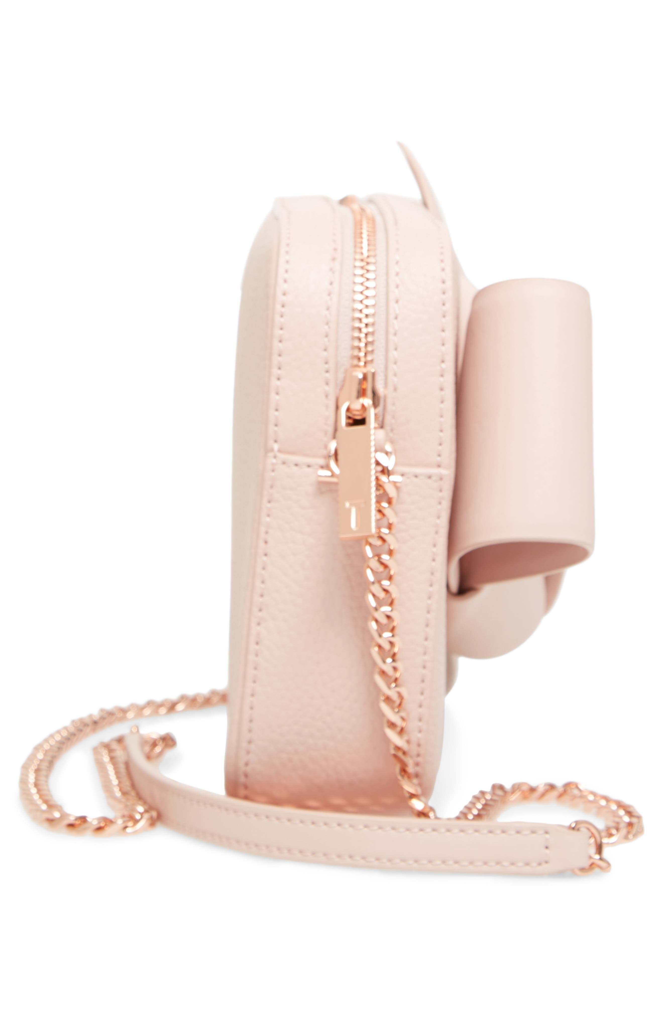 Giant Knot Leather Camera Bag,                             Alternate thumbnail 5, color,                             NUDE PINK