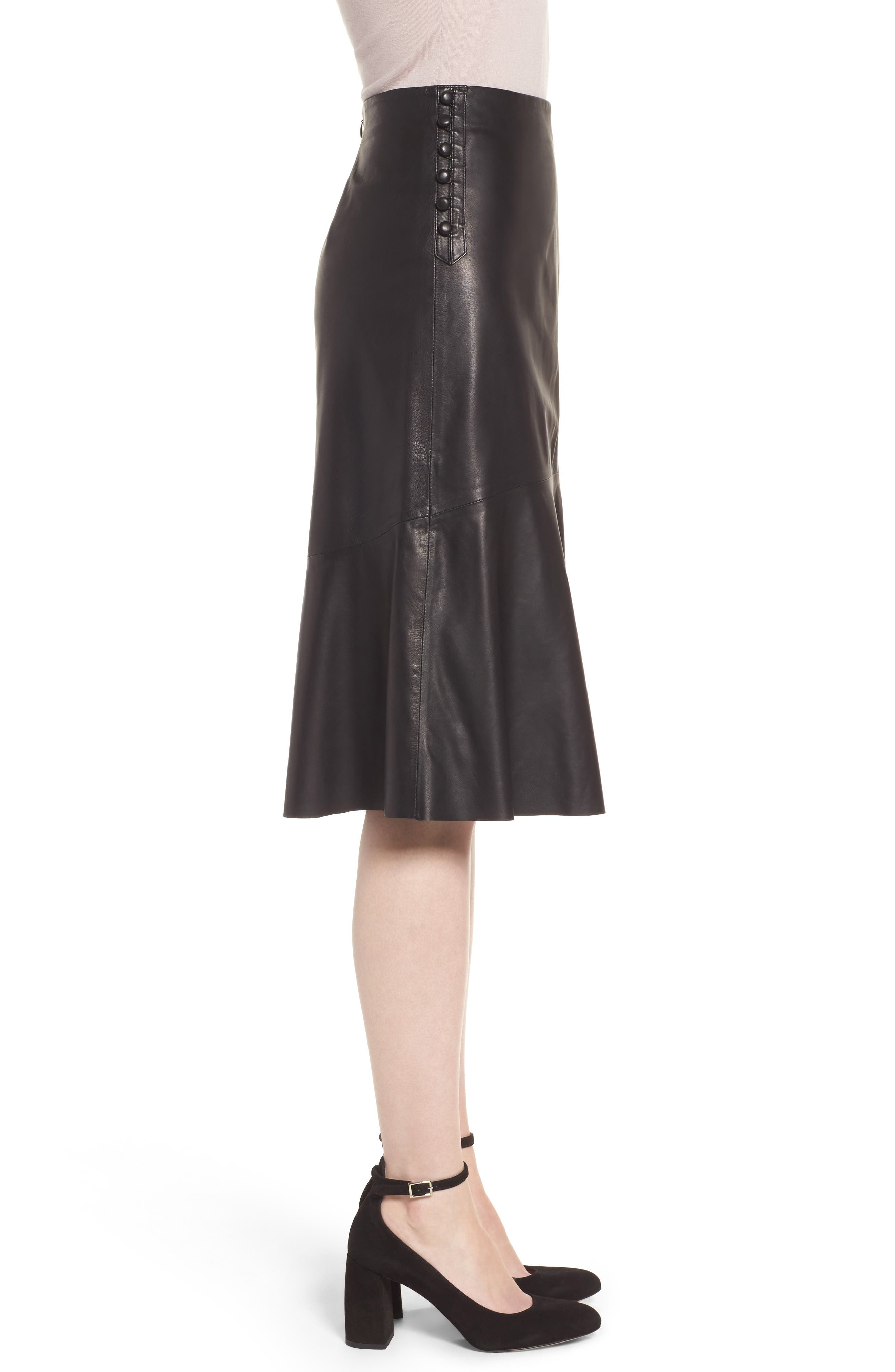 Button Detail A-Line Leather Skirt,                             Alternate thumbnail 3, color,                             001