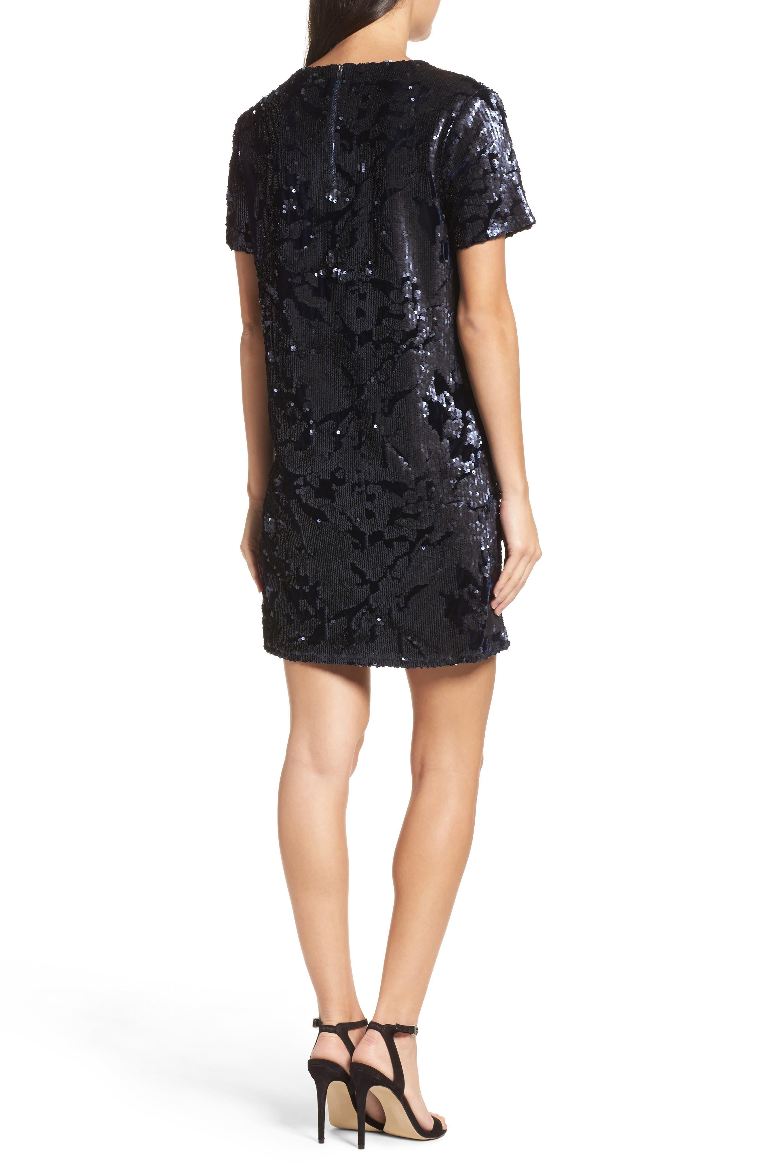 Sequin Velvet Shift Dress,                             Alternate thumbnail 2, color,                             410