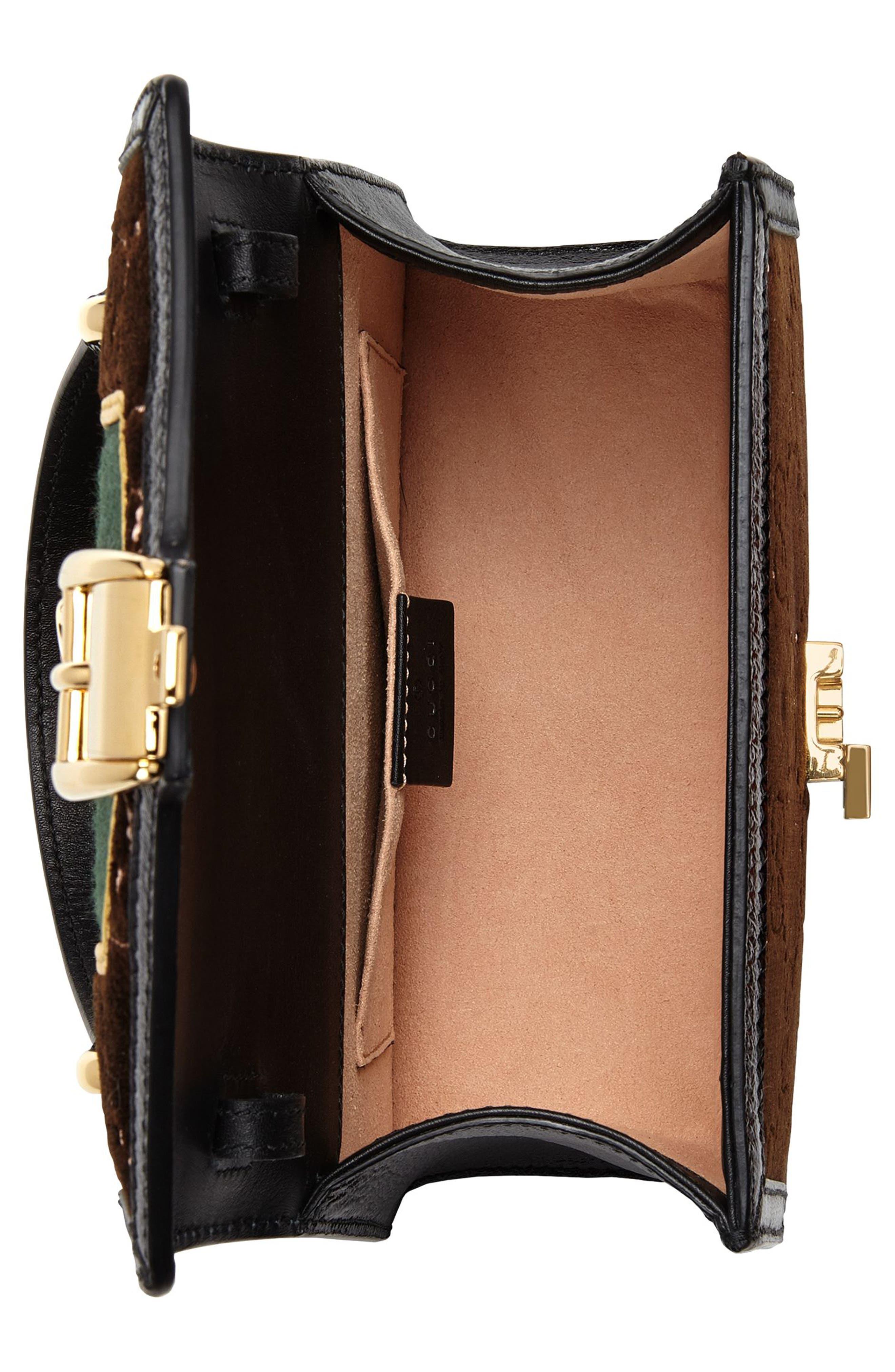 Mini Sylvie Velvet Top Handle Bag,                             Alternate thumbnail 4, color,                             BROWN/ NERO/ VERT RED VERT