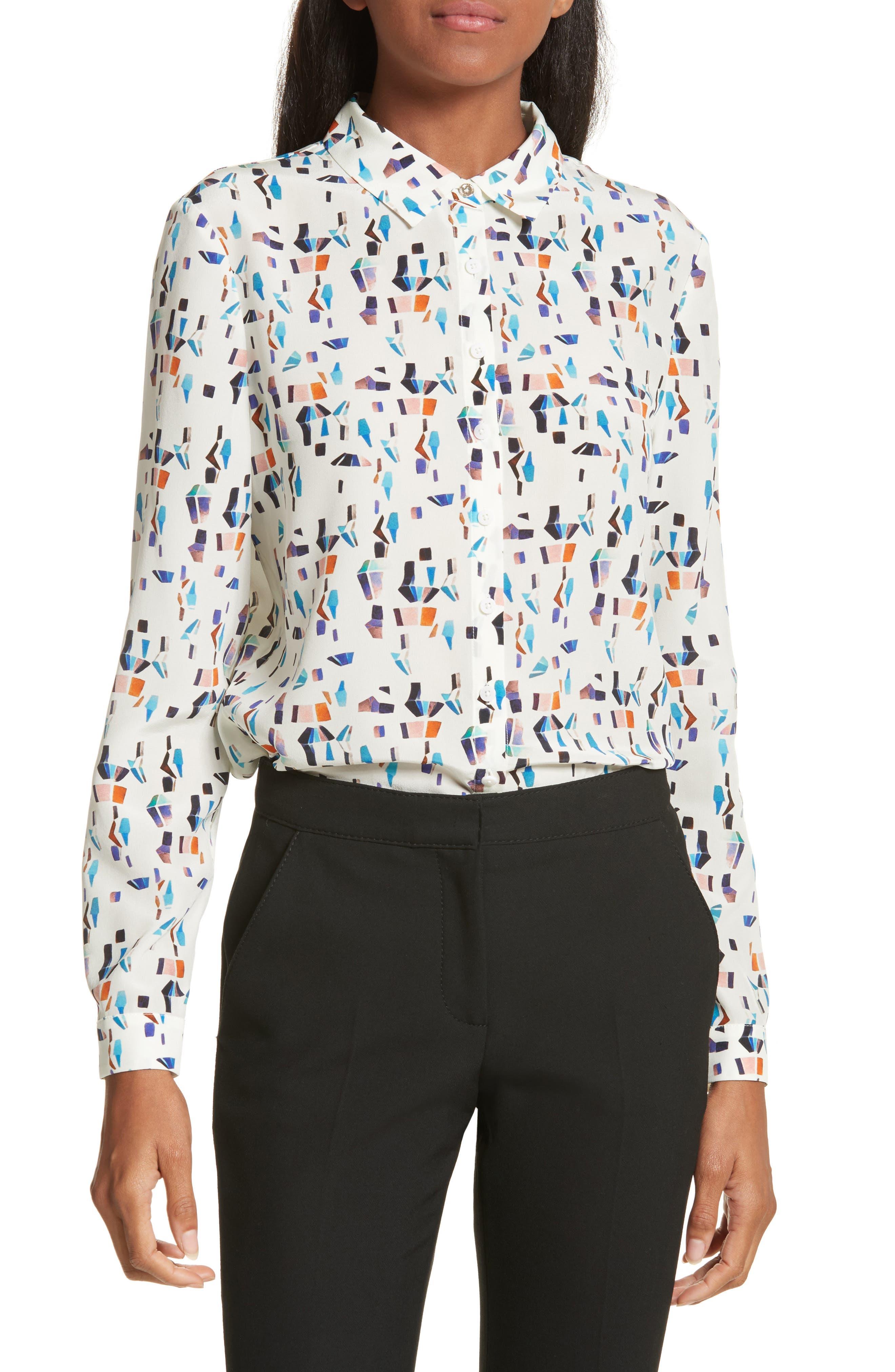 Ontaio Lantern Print Silk Shirt,                         Main,                         color, 900