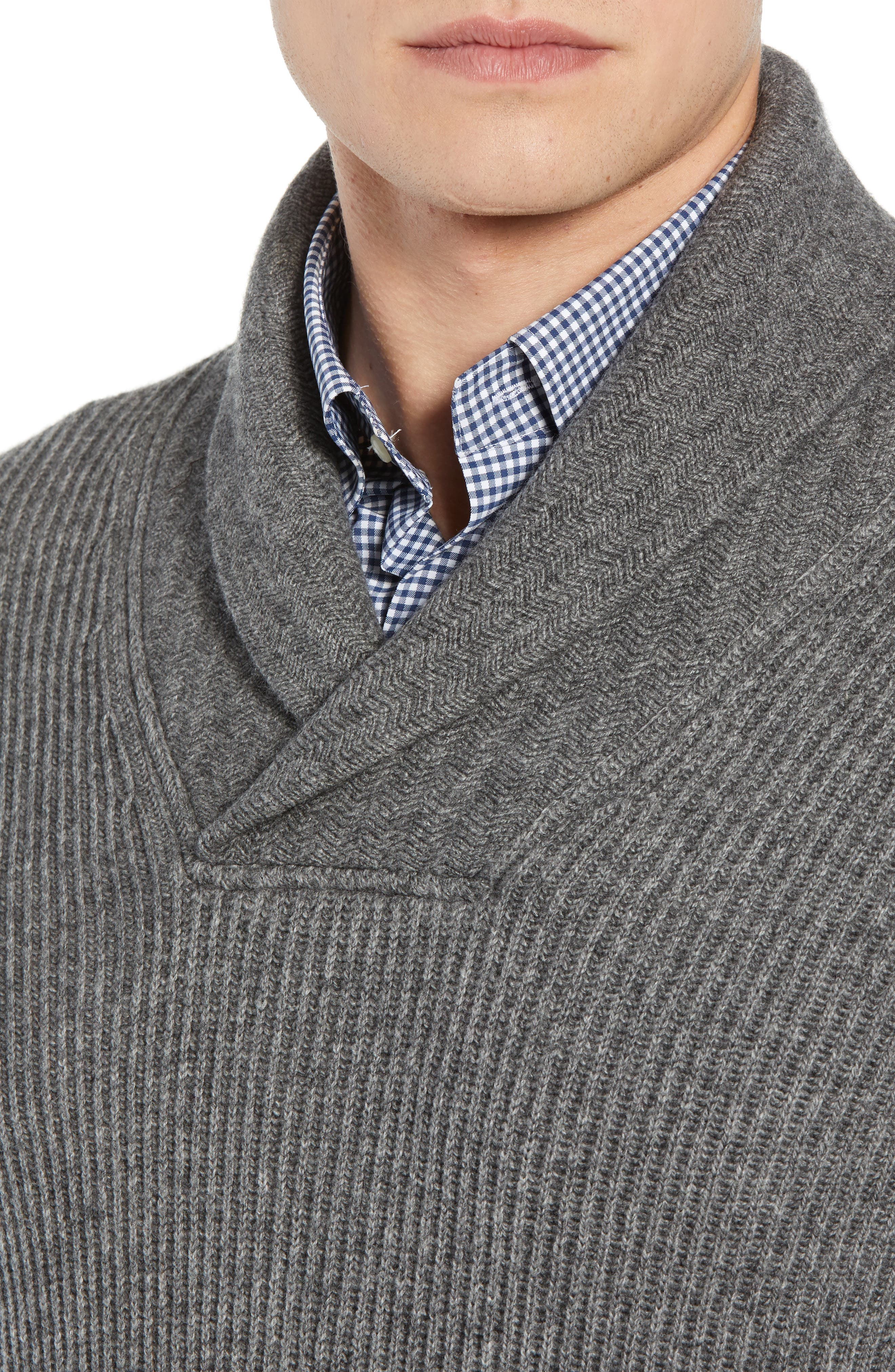 Mountainside Wool Blend Shawl Sweater,                             Alternate thumbnail 4, color,                             GREY