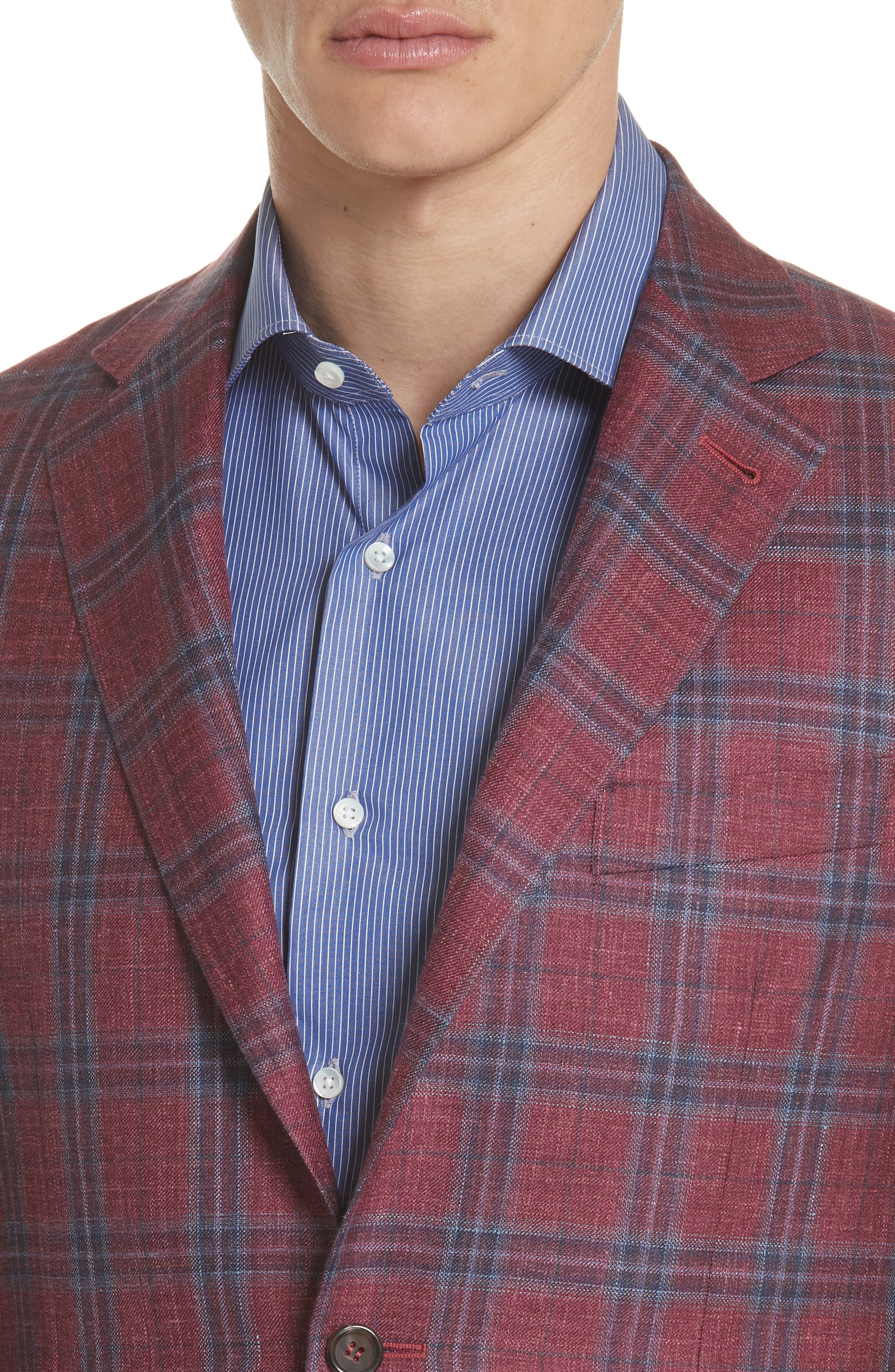Regular Fit Wool Blend Plaid Sport Coat,                             Alternate thumbnail 4, color,