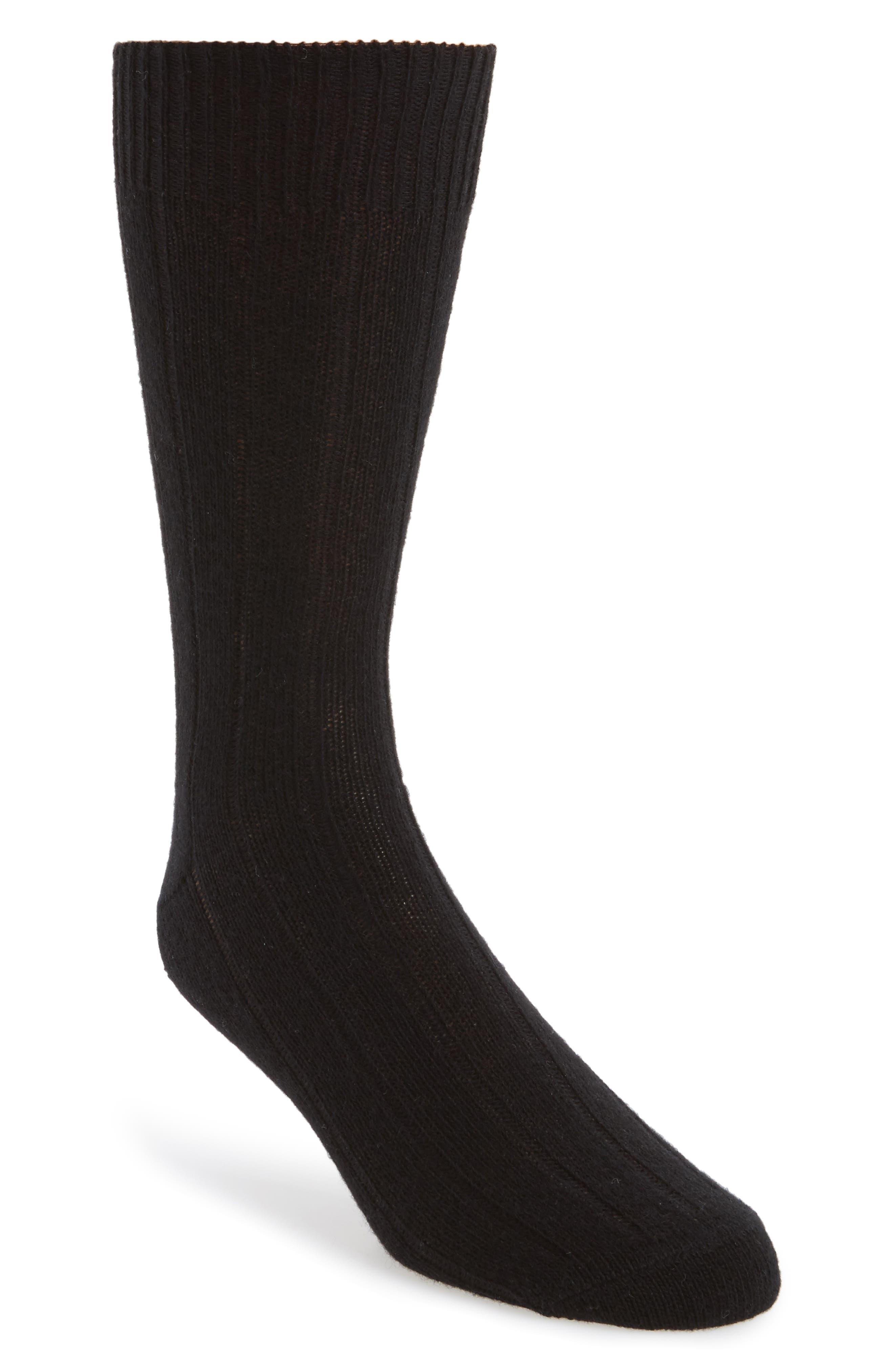Cashmere Blend Socks,                             Main thumbnail 1, color,                             BLK