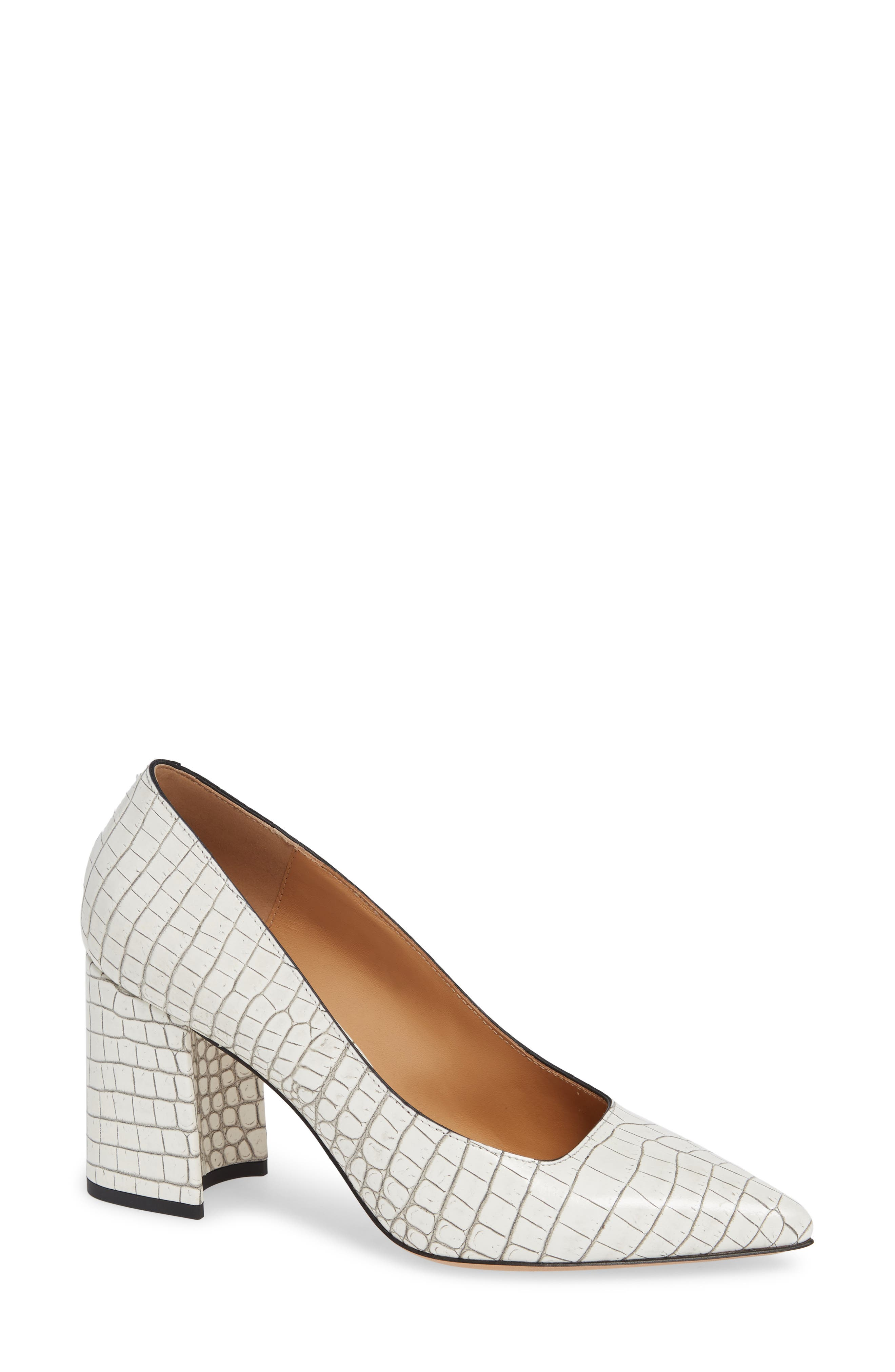 Croc Embossed Pointy Toe Pump in White