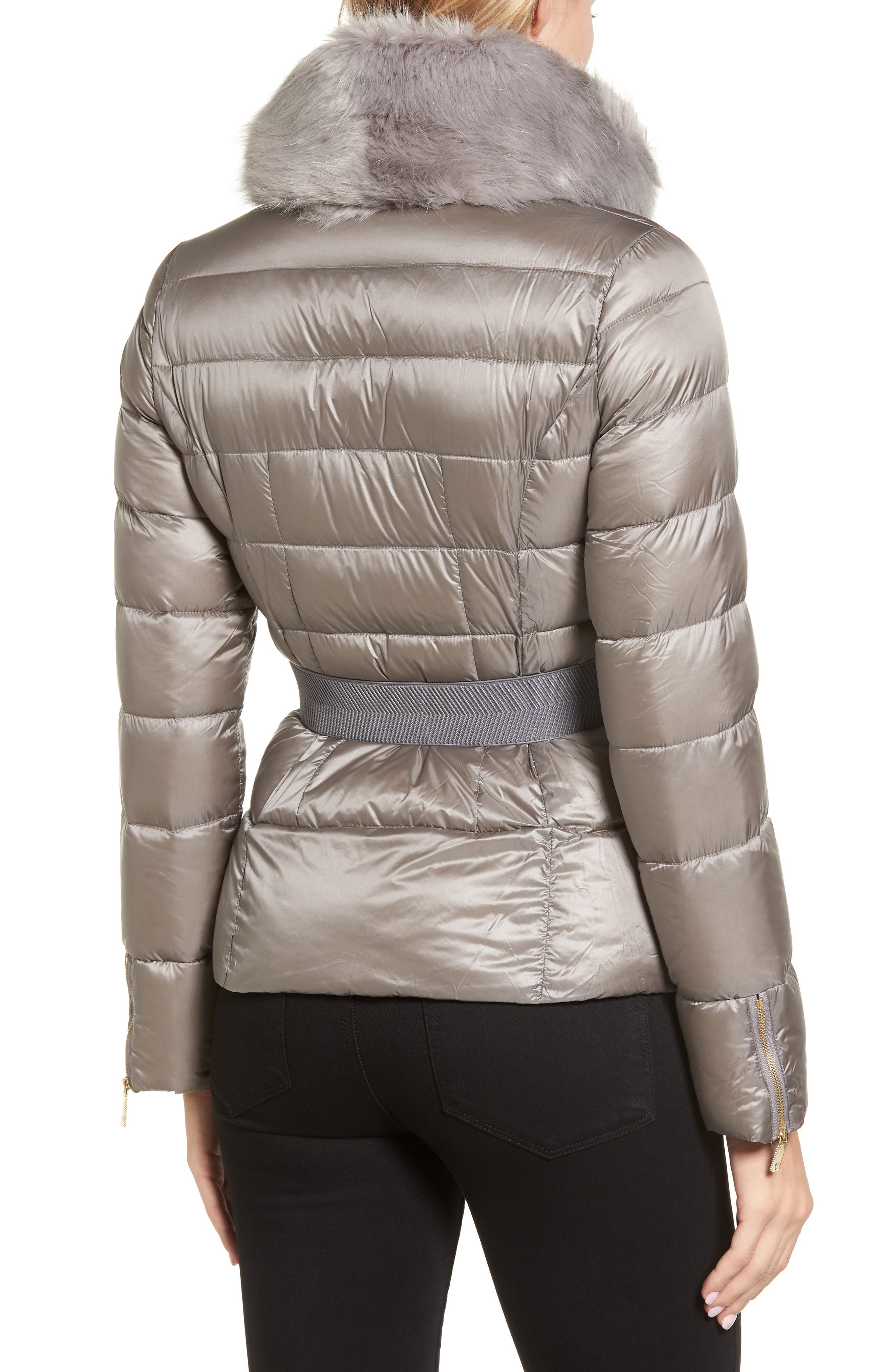 Puffer Jacket with Faux Fur Collar,                             Alternate thumbnail 2, color,                             050