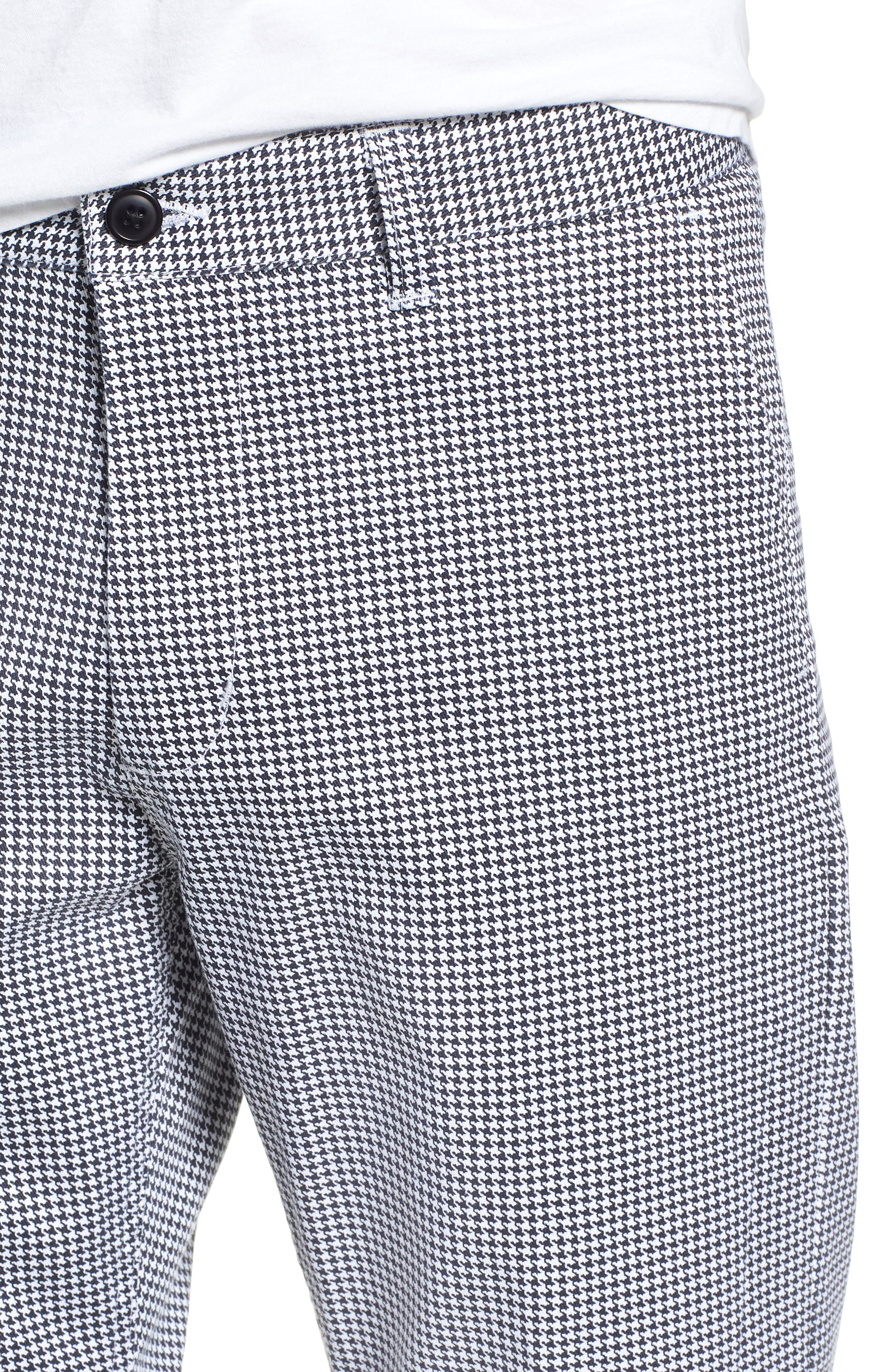 Relaxed Fit Houndstooth Cropped Pants,                             Alternate thumbnail 4, color,                             WHITE MULTI