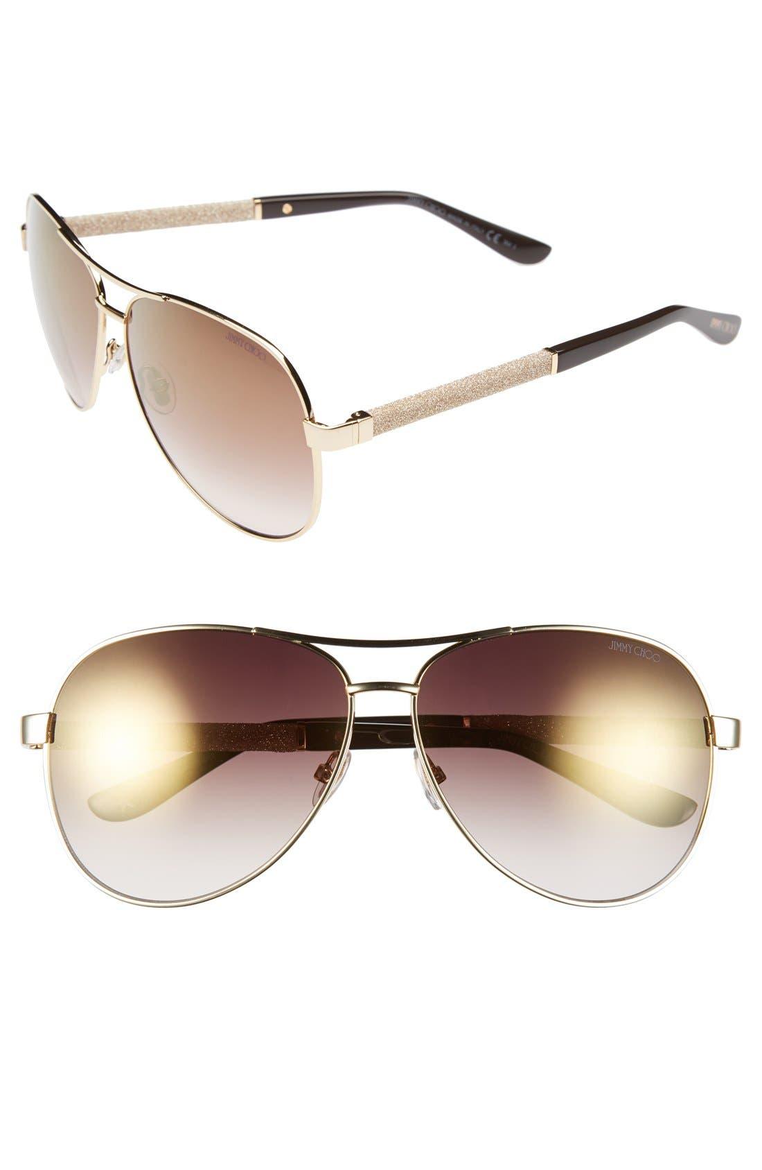 61mm Aviator Sunglasses,                             Main thumbnail 3, color,