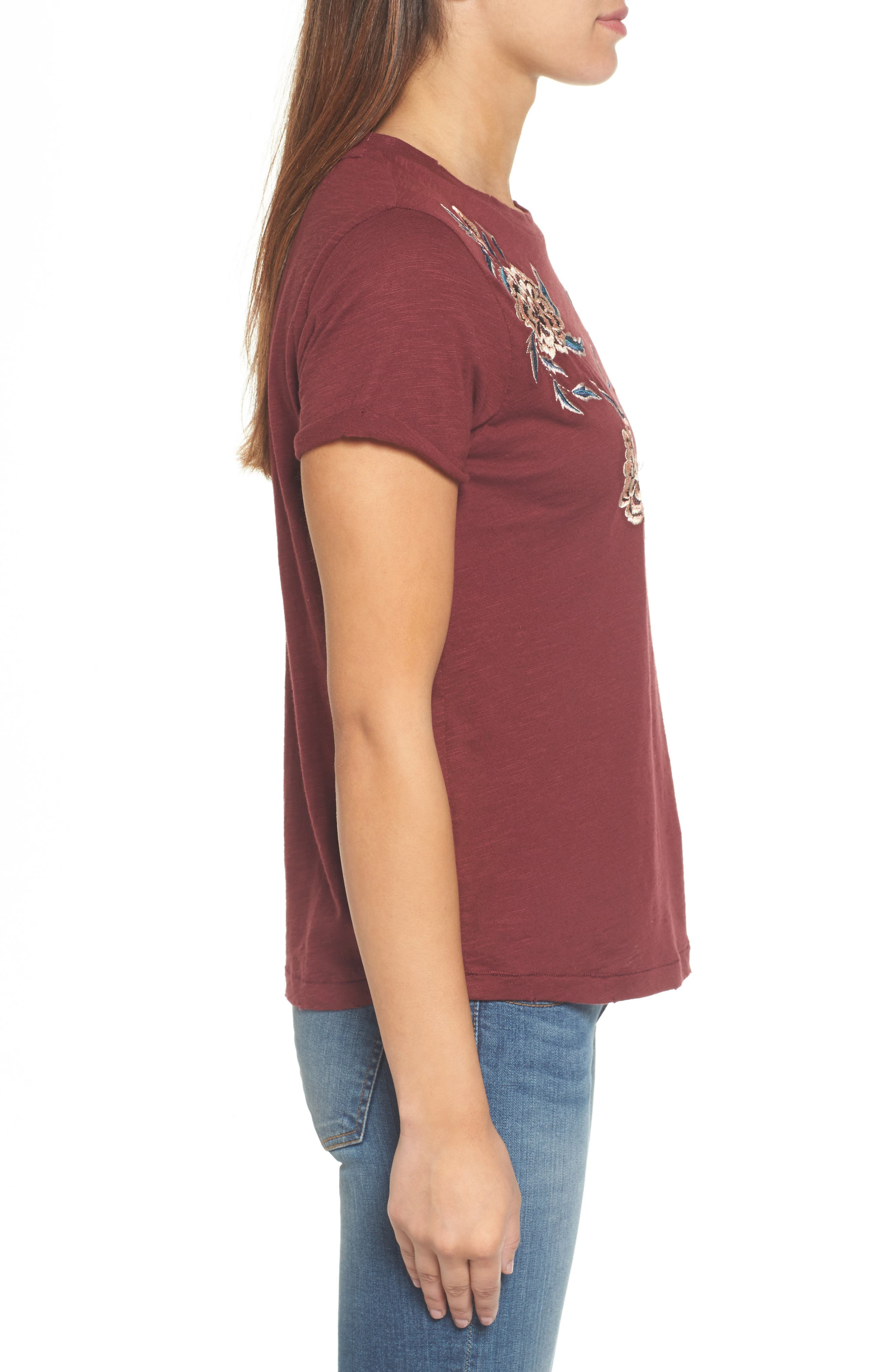 Floral Embroidered Tee,                             Alternate thumbnail 3, color,                             930