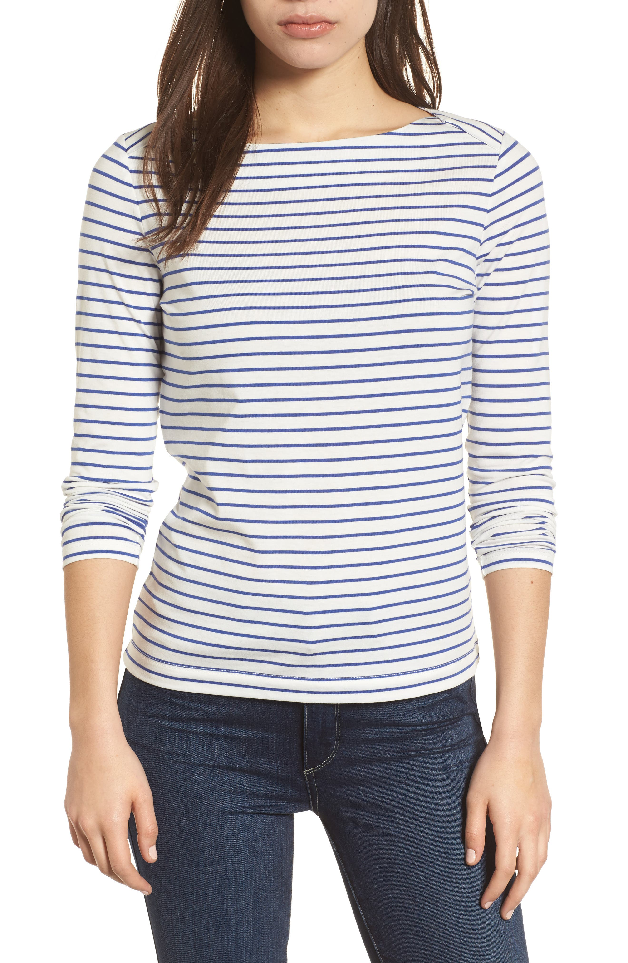 Stripe Knit Boatneck Top,                             Main thumbnail 1, color,                             100