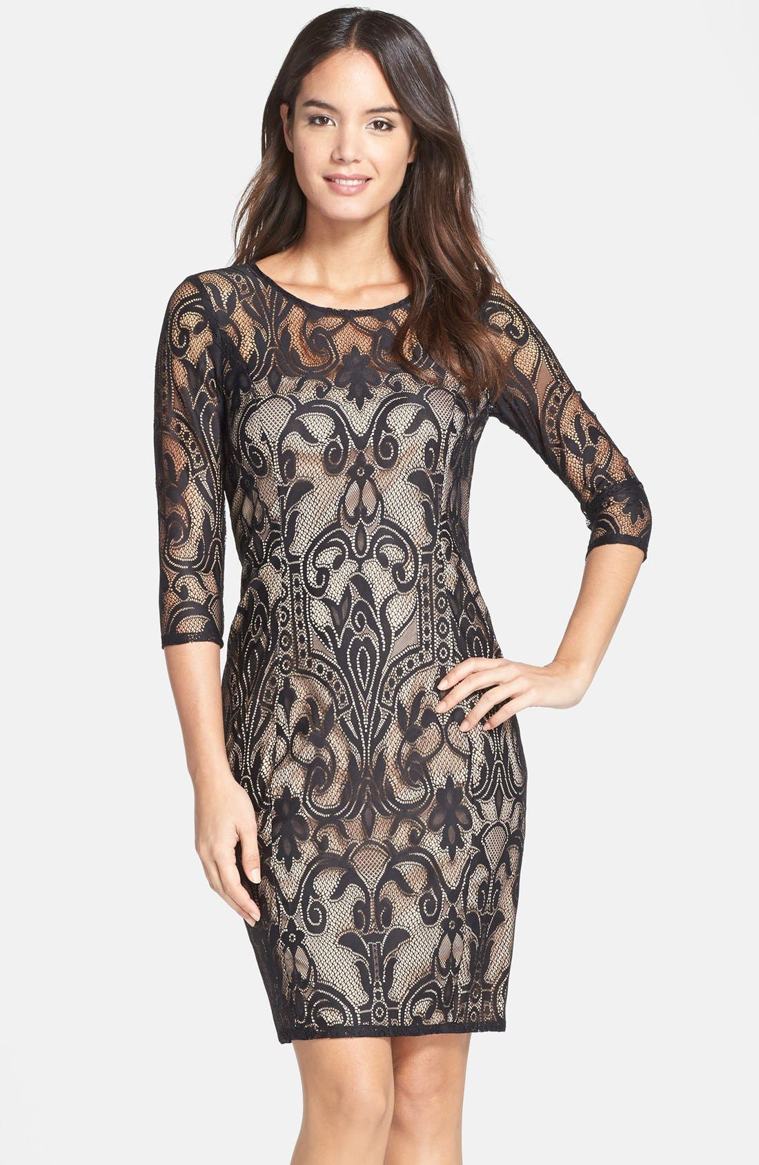 Lace Sheath Dress,                         Main,                         color, 001
