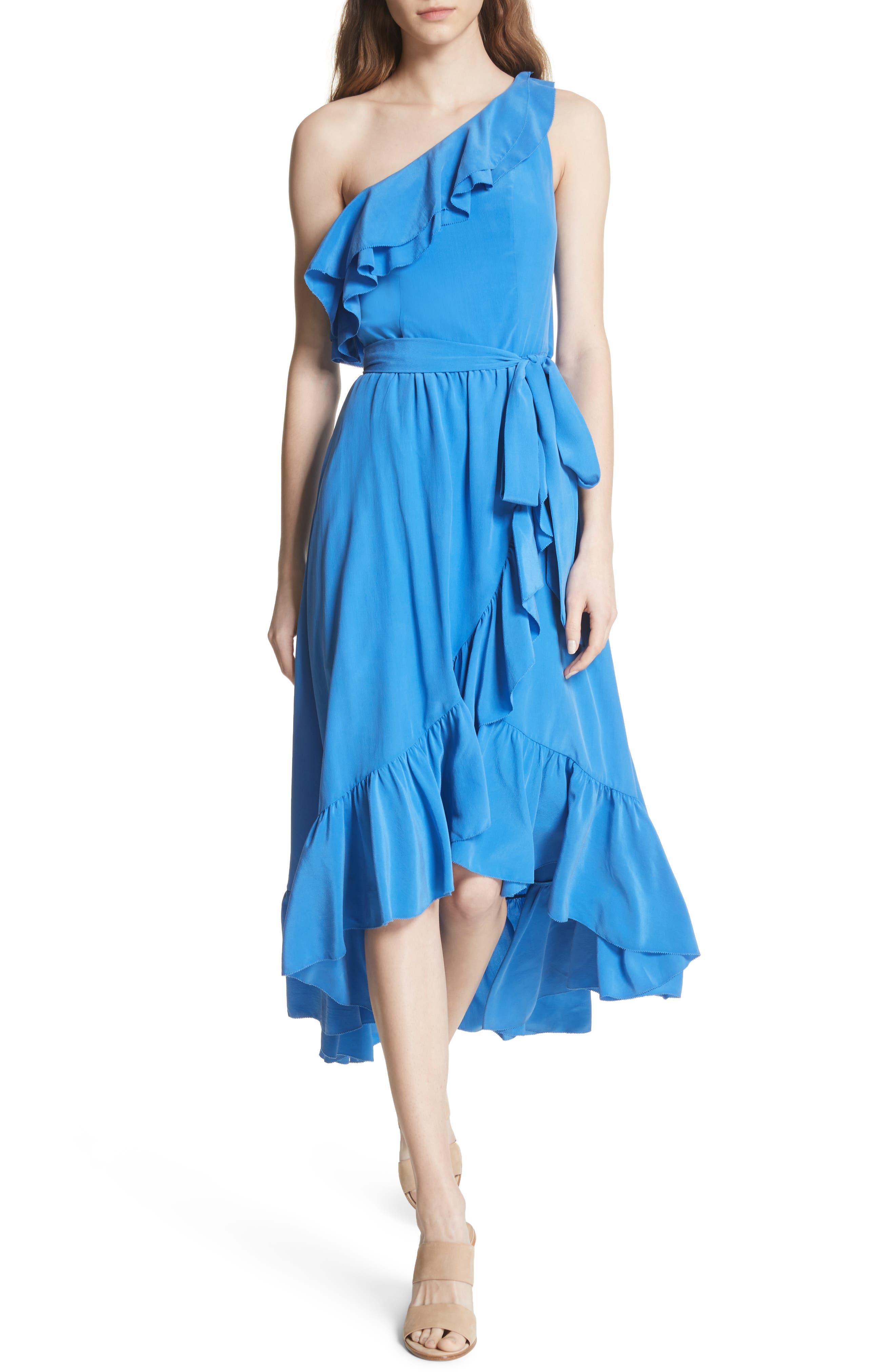 Damica Ruffle One-Shoulder Silk Dress,                         Main,                         color, 420