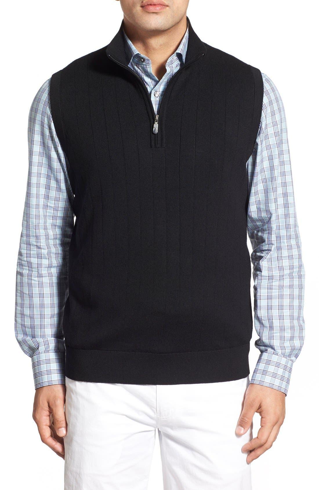 Quarter Zip Wool Sweater Vest,                             Main thumbnail 1, color,                             001
