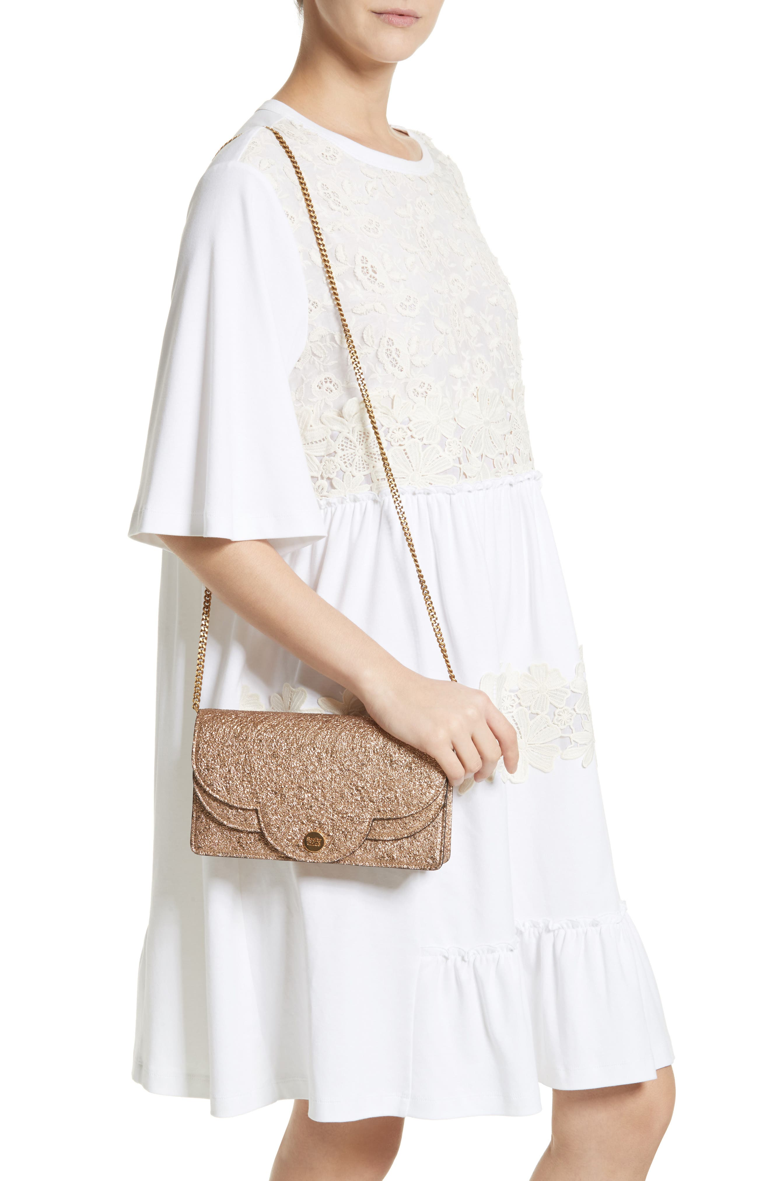 SEE BY CHLOÉ,                             Polina Metallic Leather Crossbody Clutch,                             Alternate thumbnail 3, color,                             220