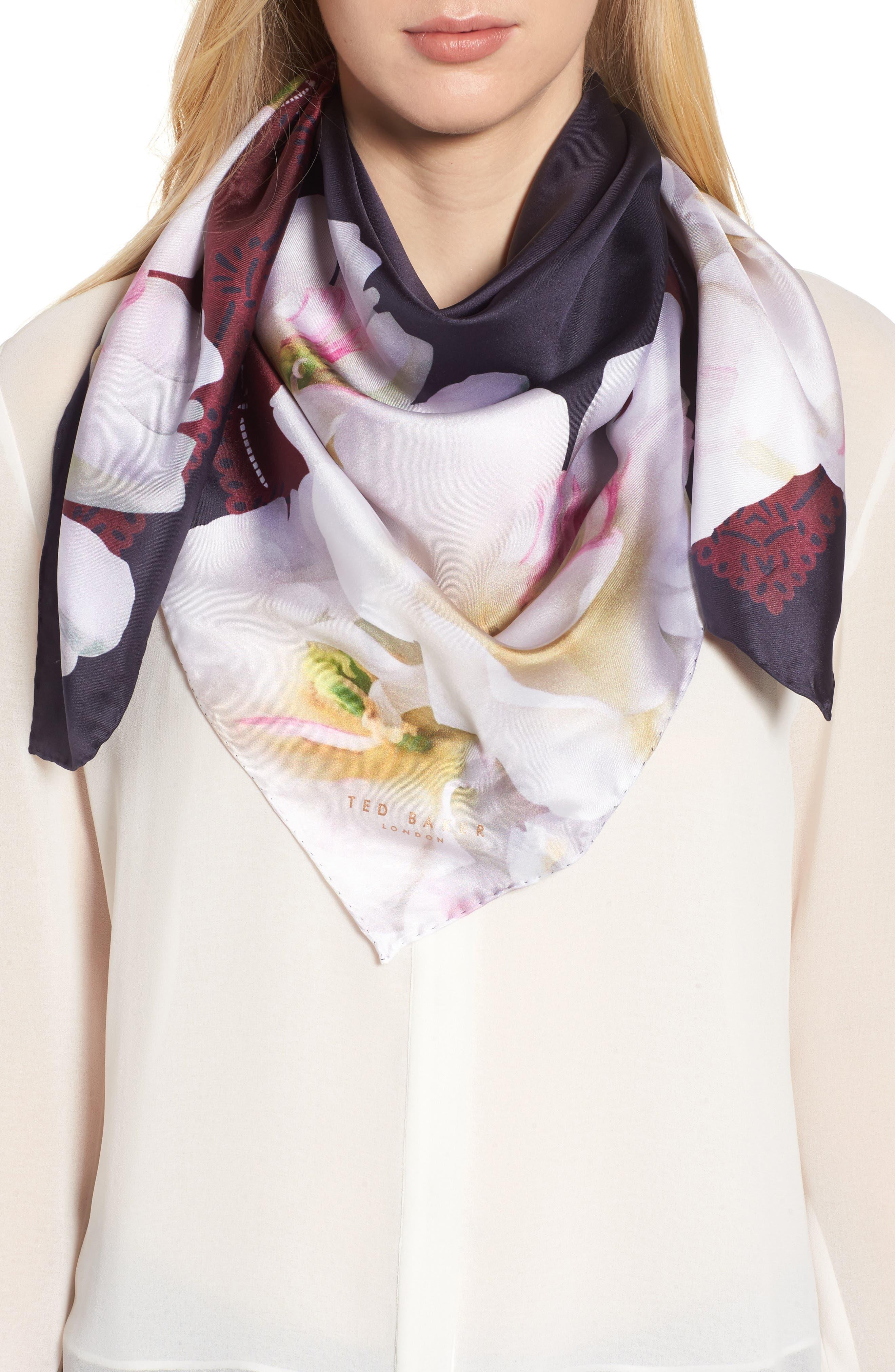 Gardenia Square Silk Scarf,                         Main,                         color, 110