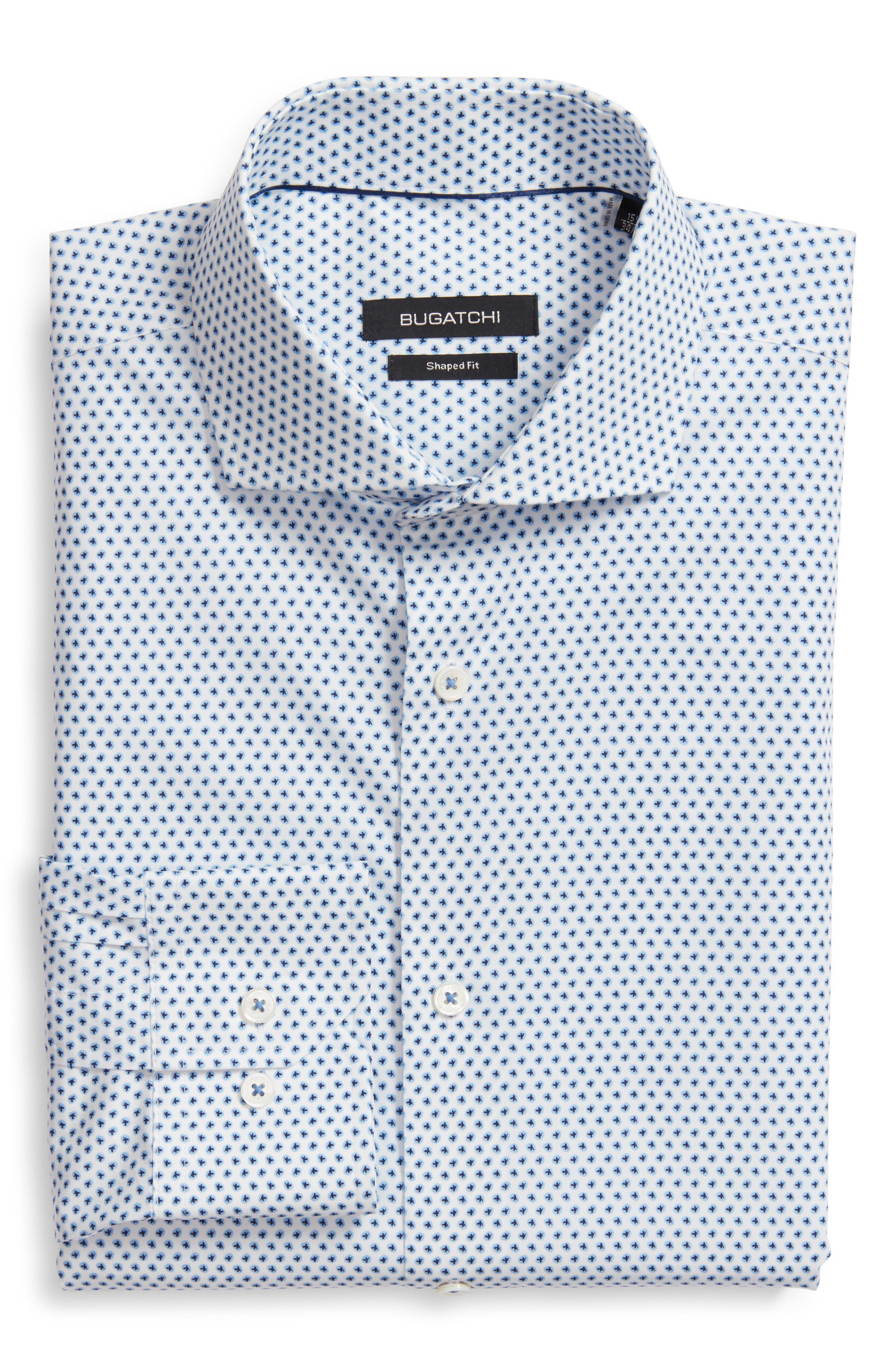 men's big & tall bugatchi trim fit print dress shirt, size 18 - blue
