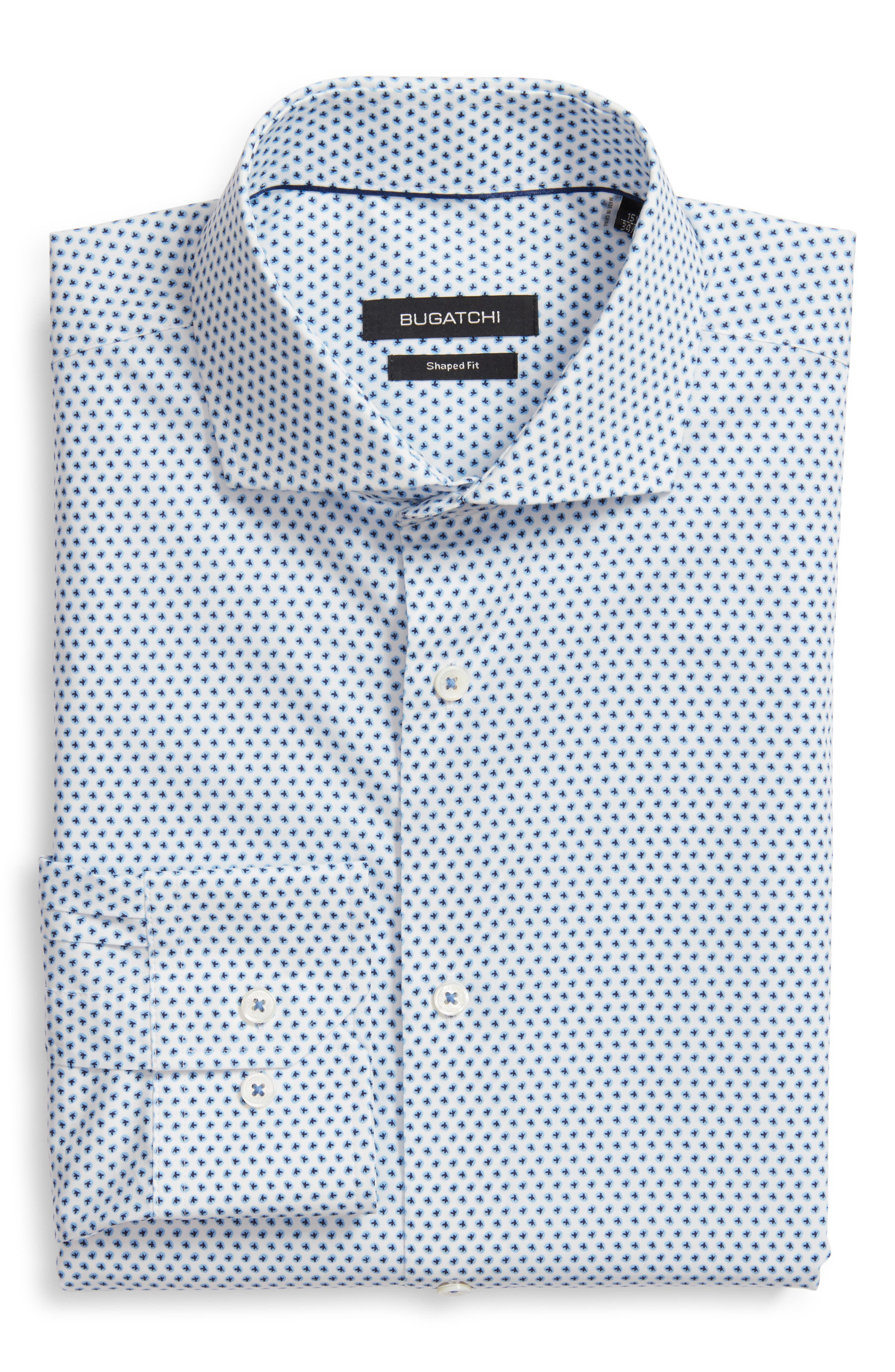 Trim Fit Print Dress Shirt,                         Main,                         color, NAVY