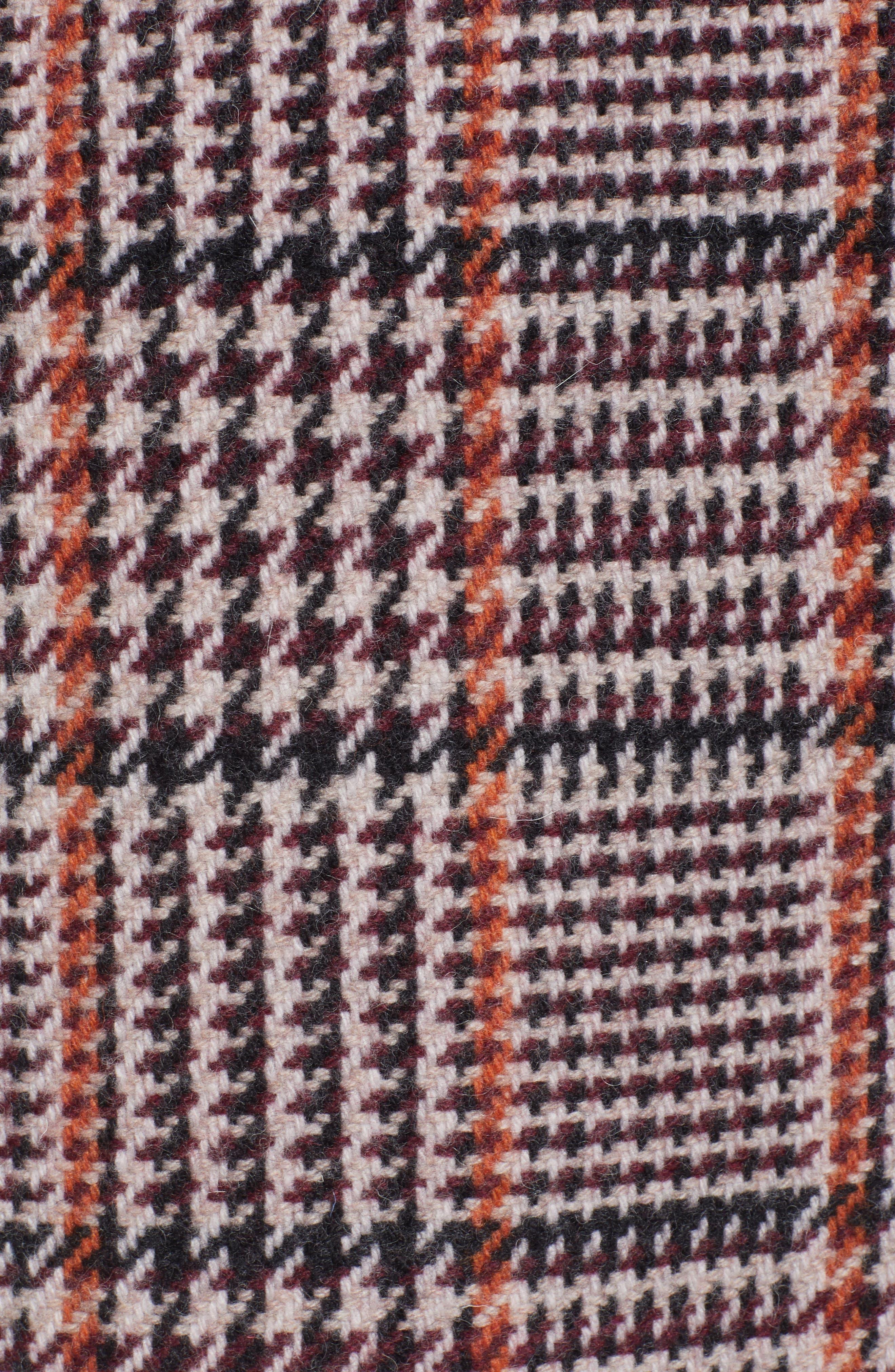 Plaid Single Breasted Topcoat,                             Alternate thumbnail 6, color,                             CABERNET PLAID