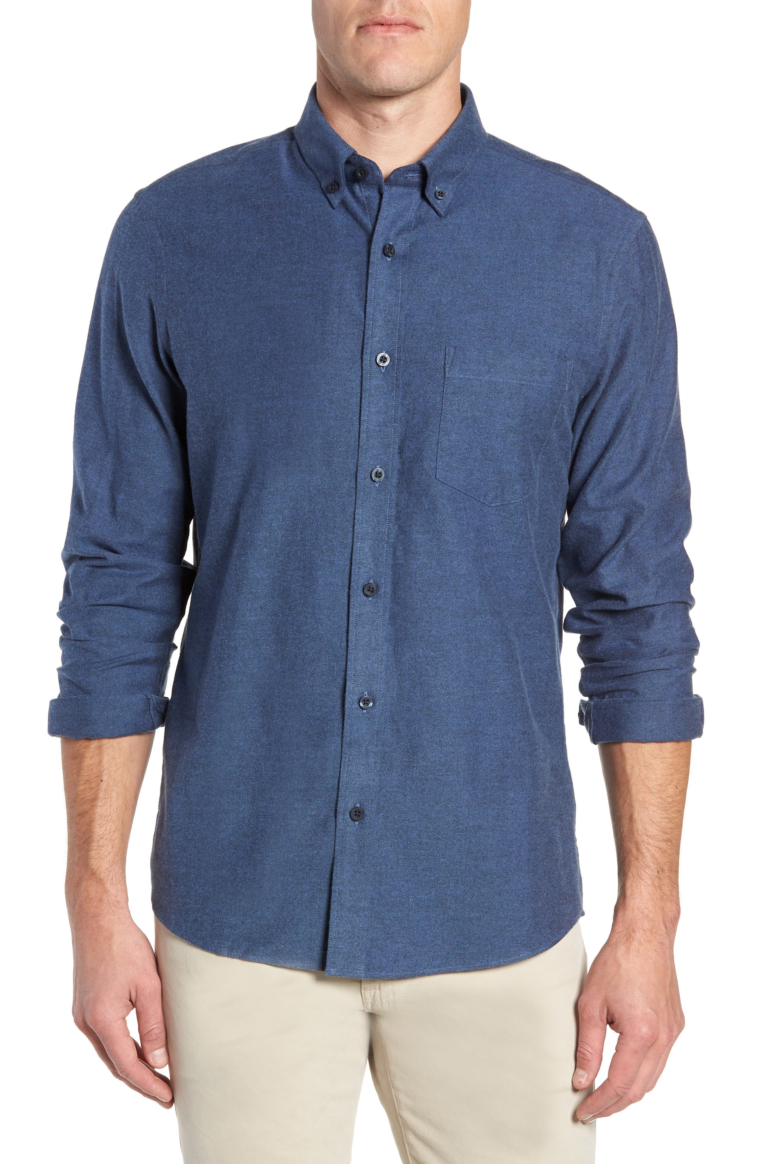 Nordstrom Shop Traditional Fit Brushed Twill Sport Shirt