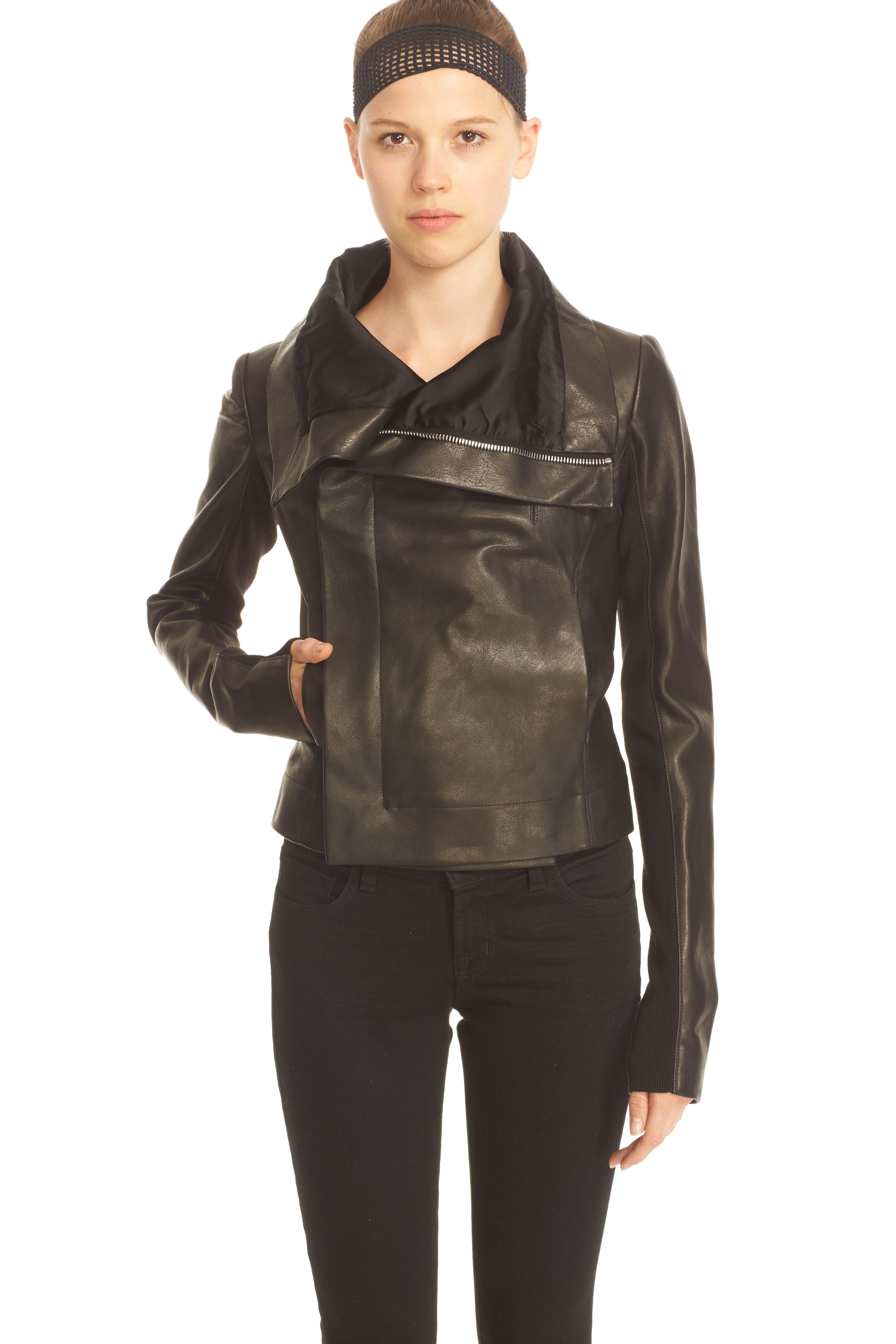 RICK OWENS,                             'Clean' Leather Biker Jacket,                             Alternate thumbnail 6, color,                             001