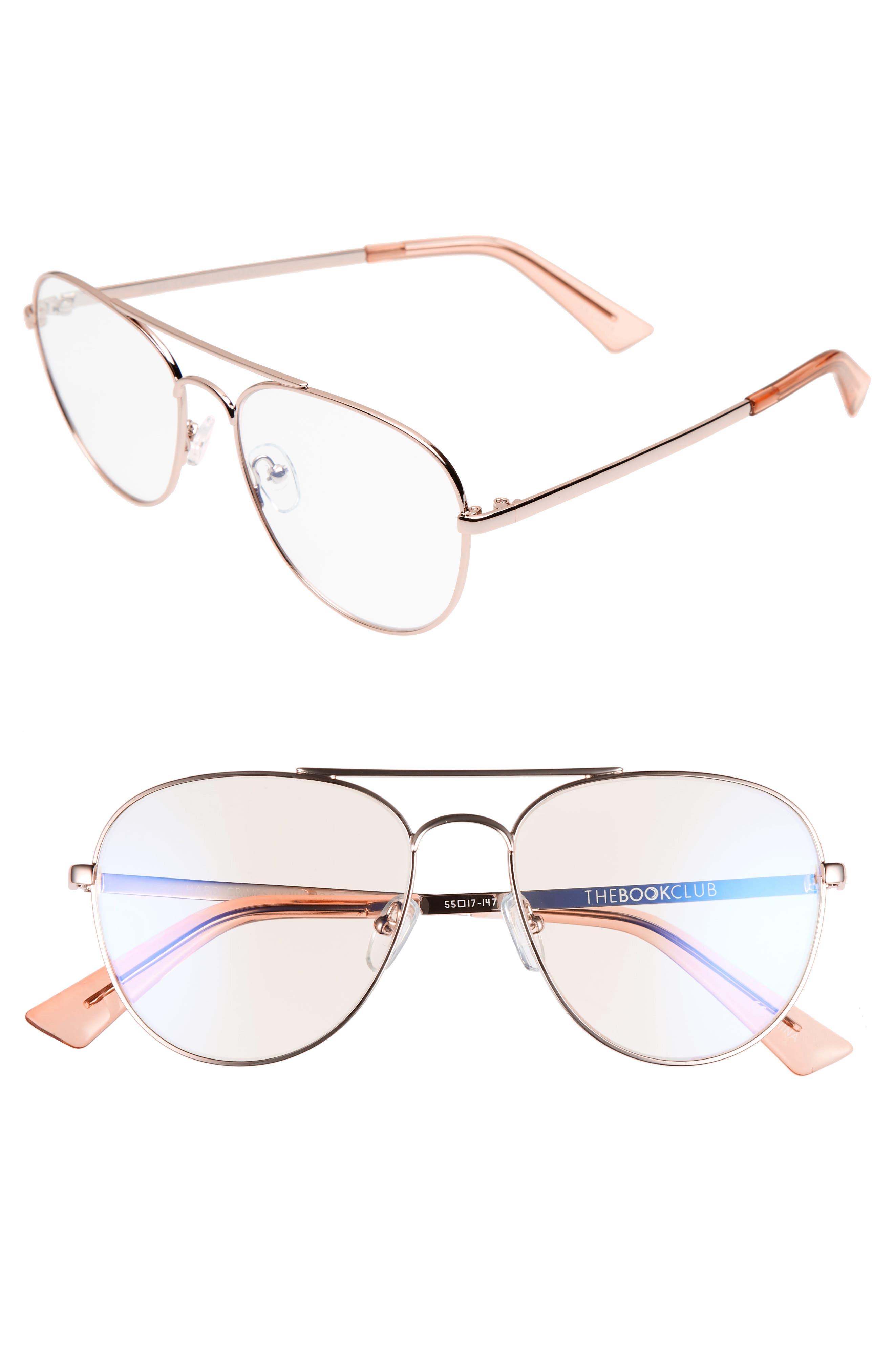 Hard Crimes 55mm Aviator Reading Glasses,                         Main,                         color, ROSE GOLD
