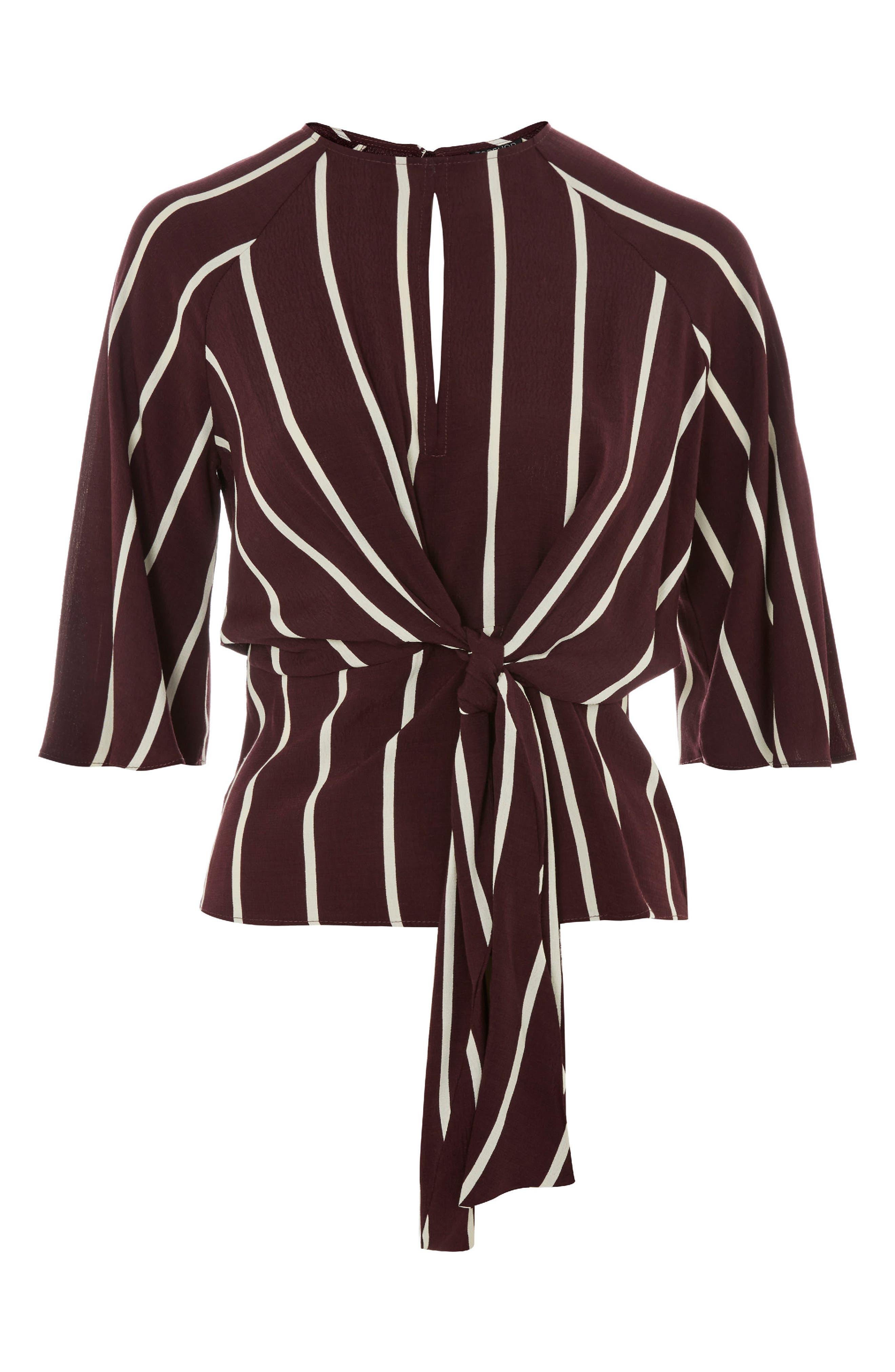 Stripe Front Knot Blouse,                             Alternate thumbnail 3, color,                             930