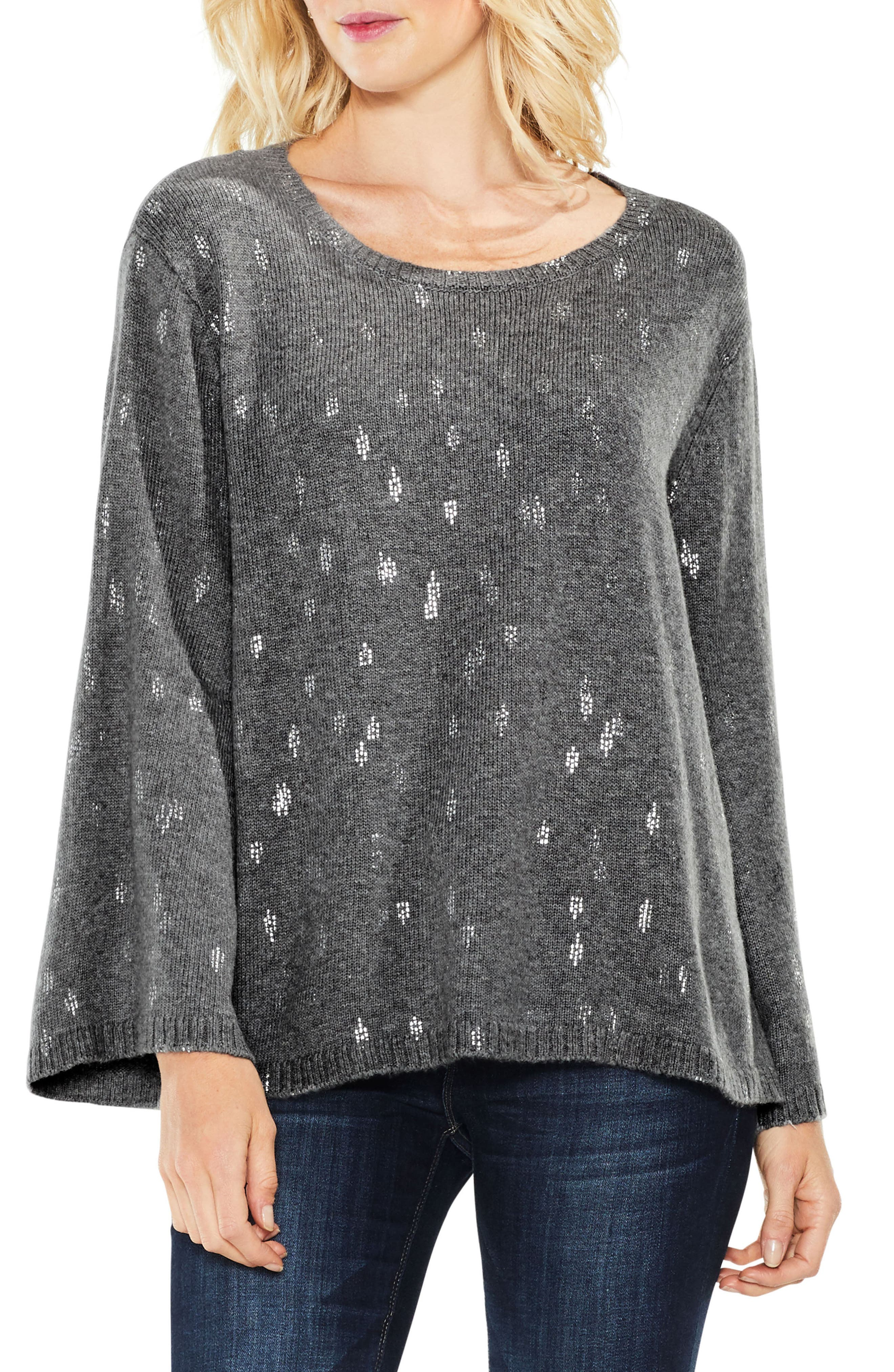 Bell Sleeve Foil Print Sweater,                         Main,                         color, 023