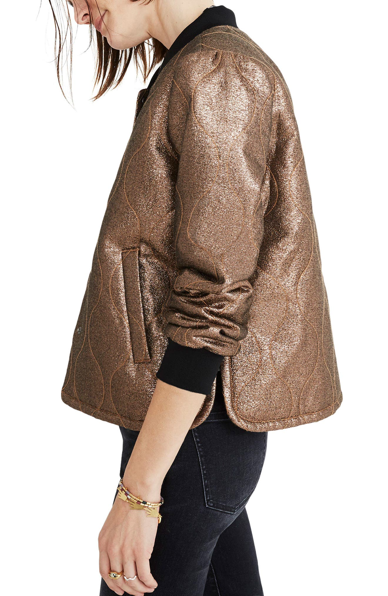 Metallic Quilted Military Jacket,                             Alternate thumbnail 3, color,                             200