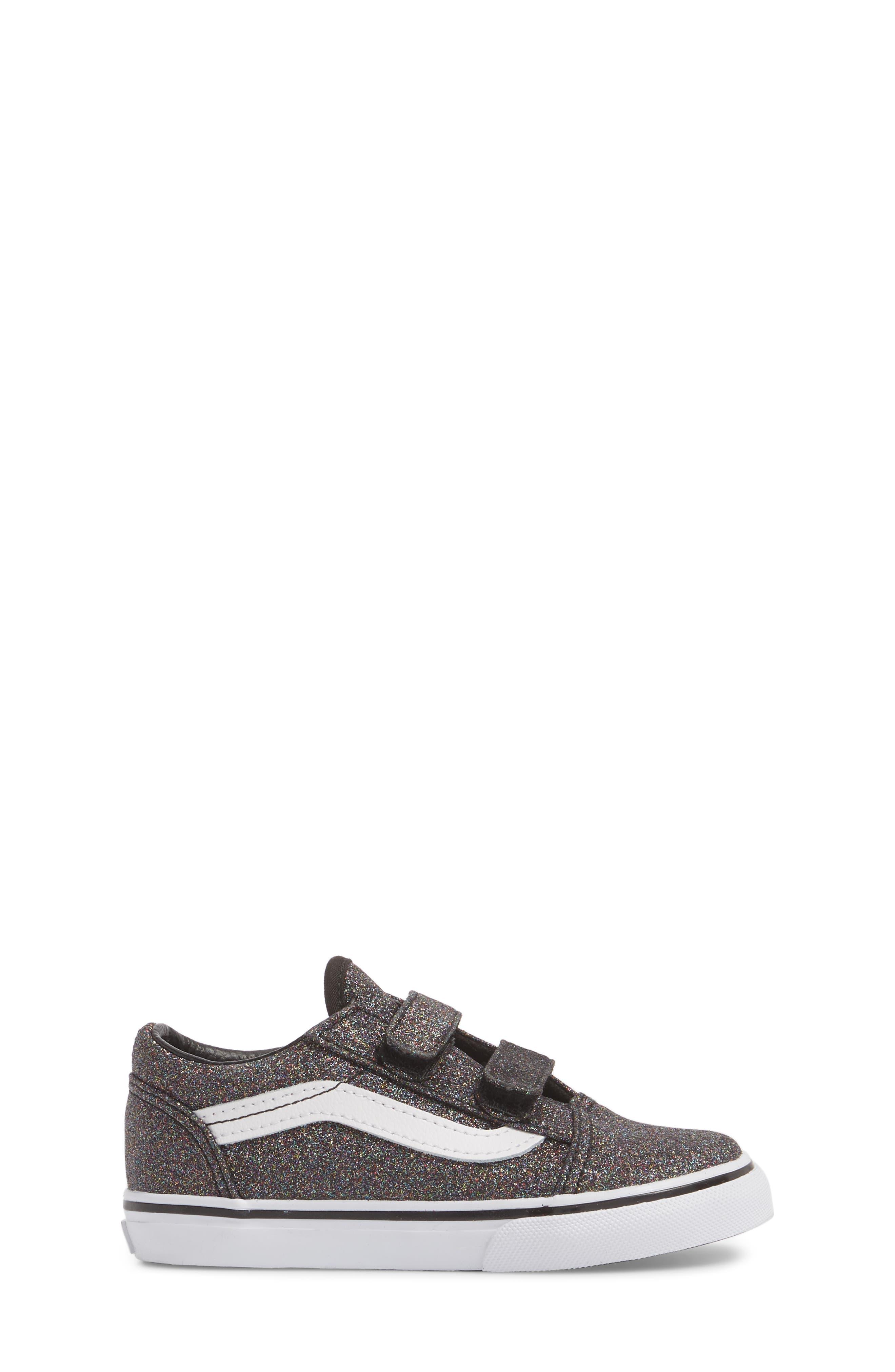 Old Skool V Glitter Sneaker,                             Alternate thumbnail 3, color,                             001