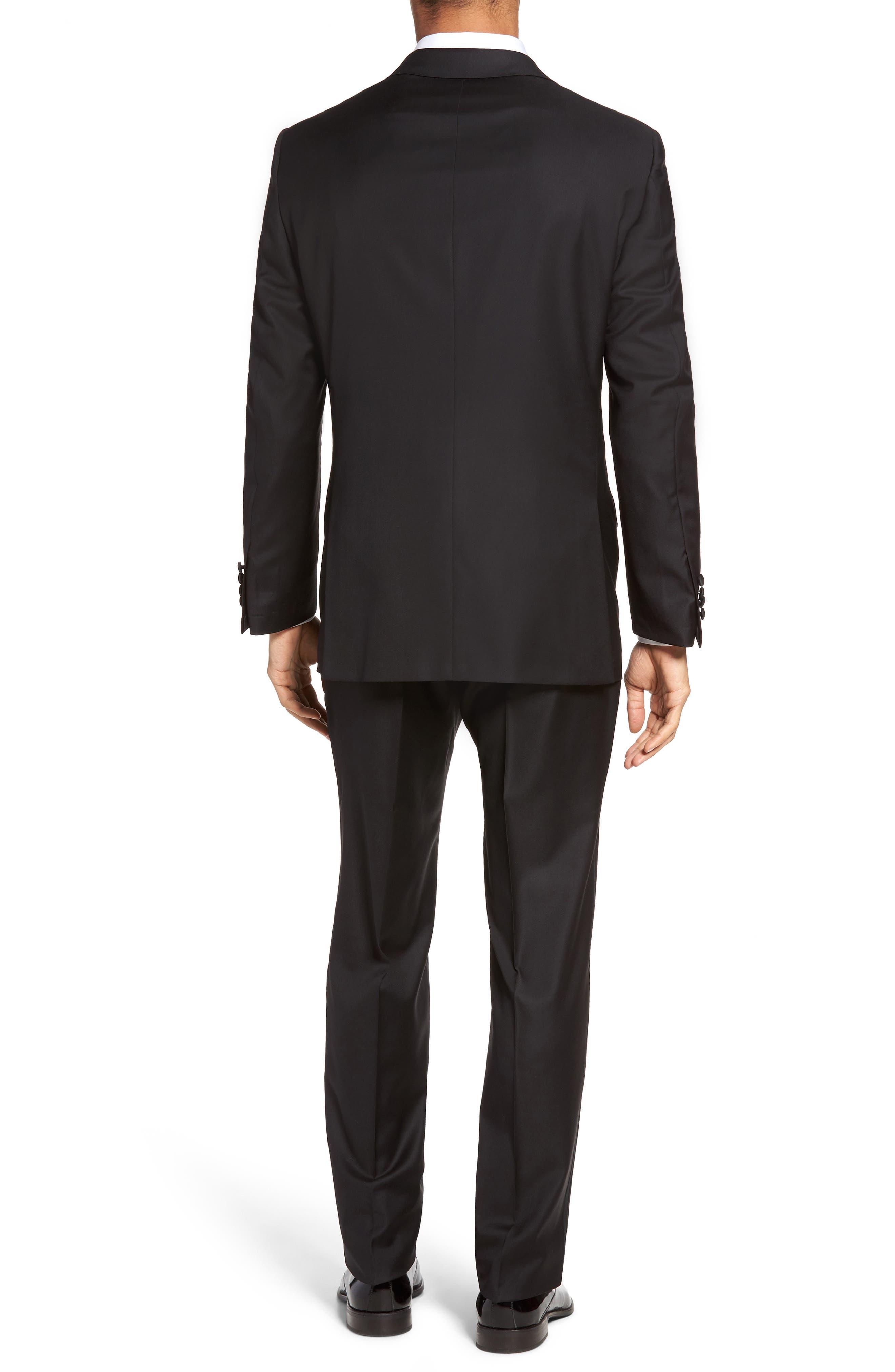Classic B Fit Wool Tuxedo,                             Alternate thumbnail 2, color,                             BLACK