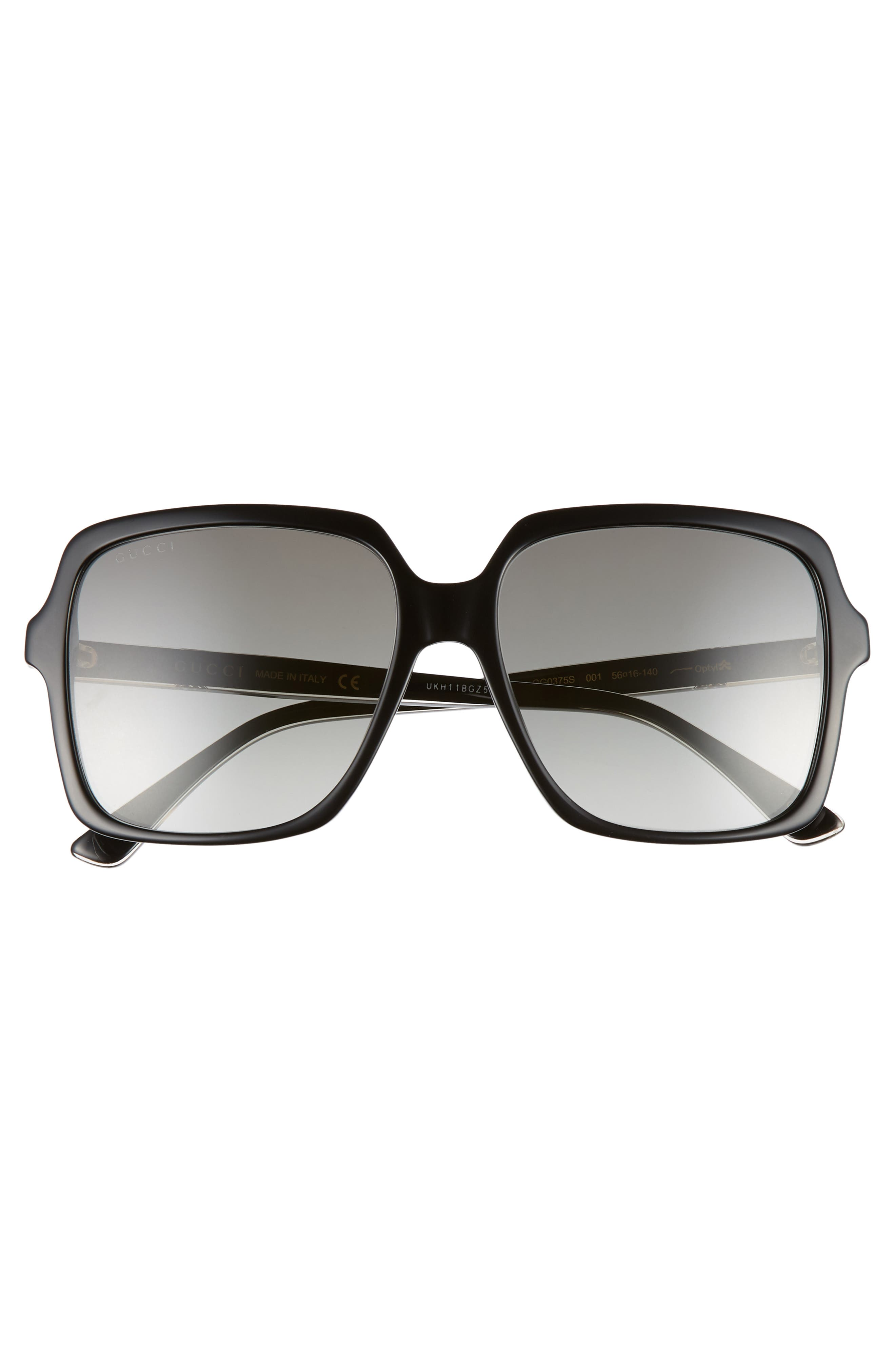 56mm Square Sunglasses,                             Alternate thumbnail 3, color,                             BLACK/ CRYSTAL/ GREY GRADIENT