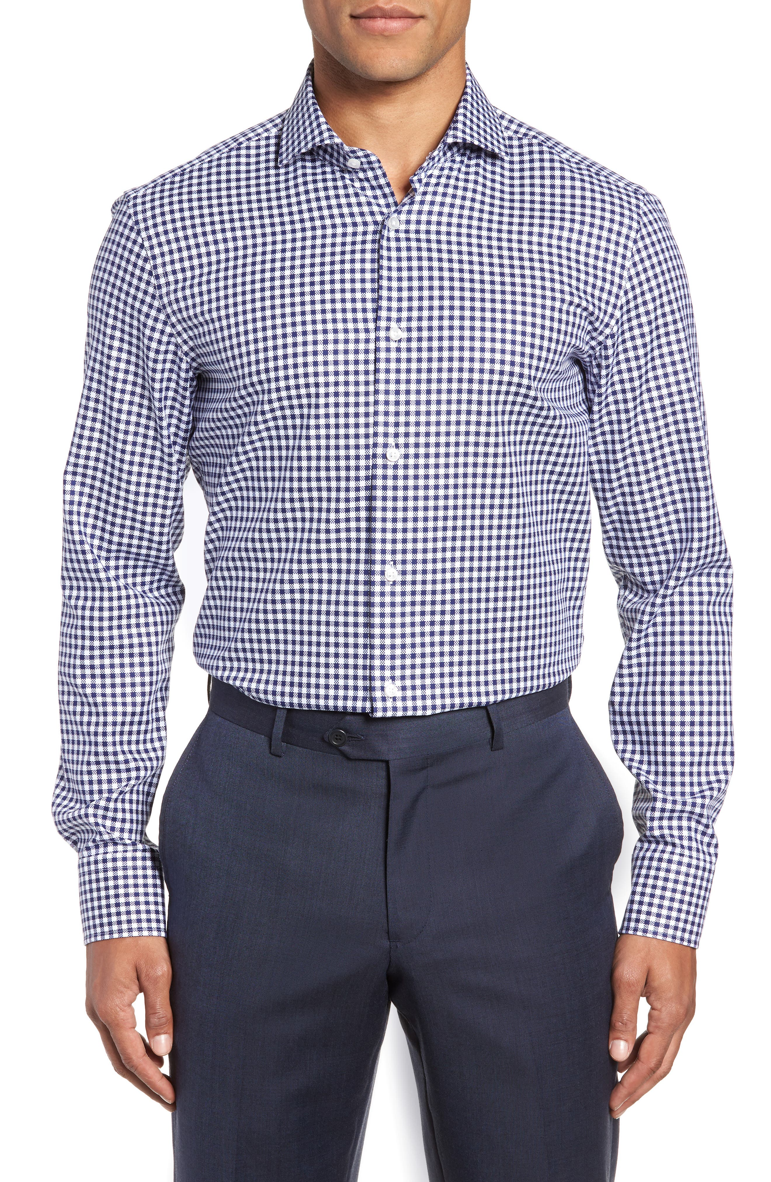 Jason Slim Fit Check Dress Shirt,                             Main thumbnail 1, color,                             NAVY