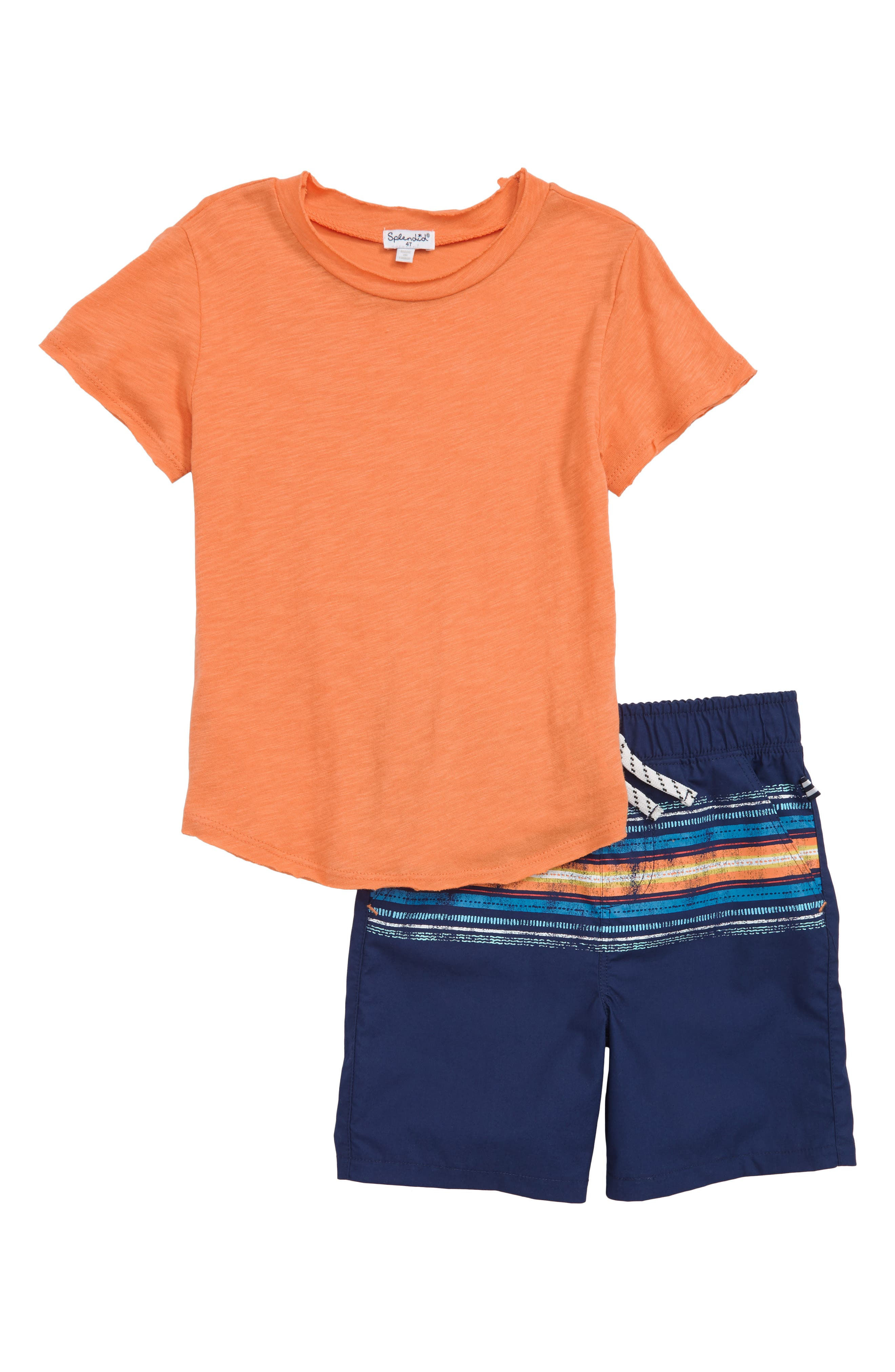 T-Shirt & Stripe Shorts Set,                             Main thumbnail 1, color,                             800