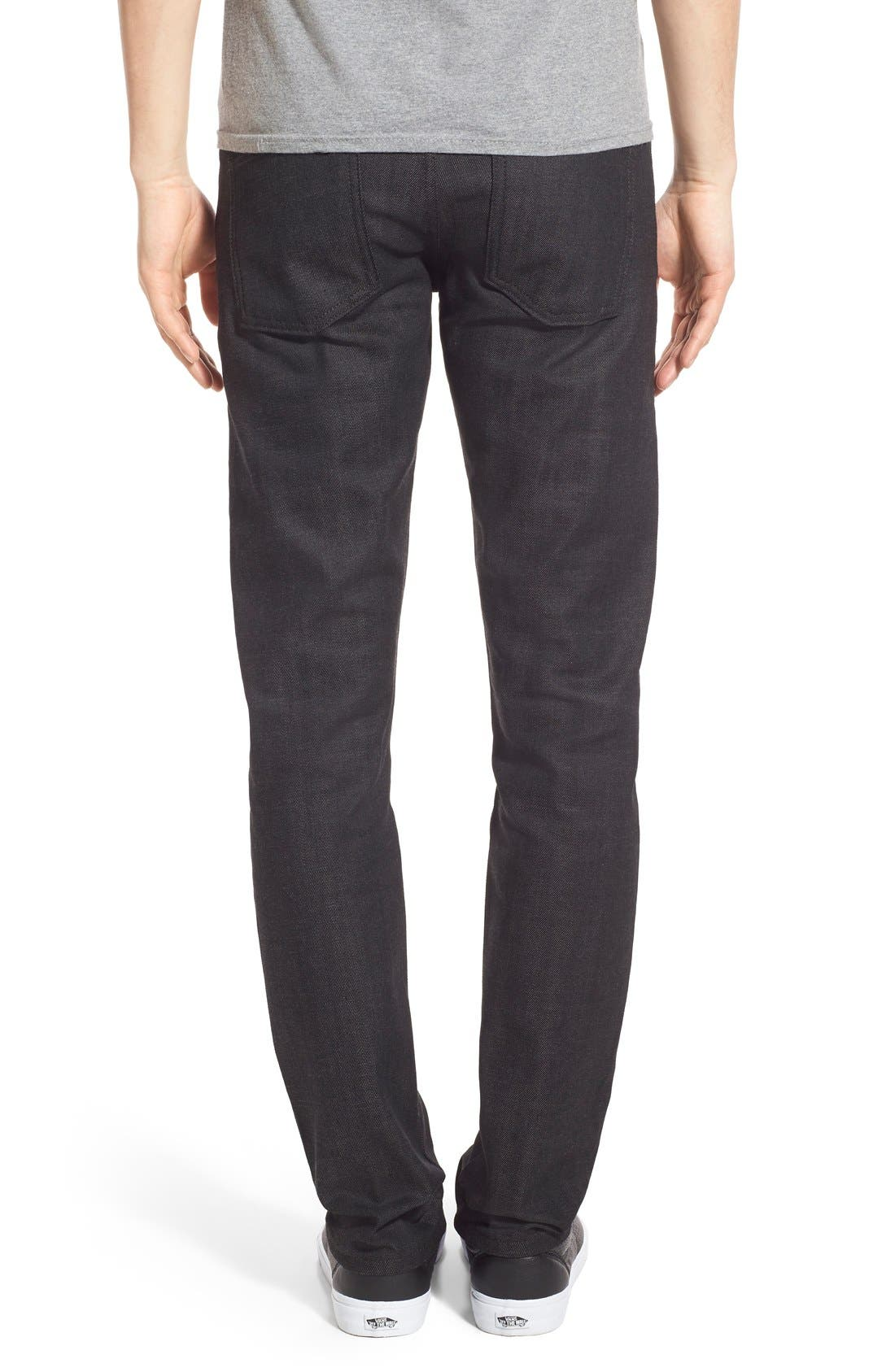 Naked & Famous Super Skinny Guy Skinny Fit Stretch Jeans,                             Alternate thumbnail 2, color,                             BLACK X GREY