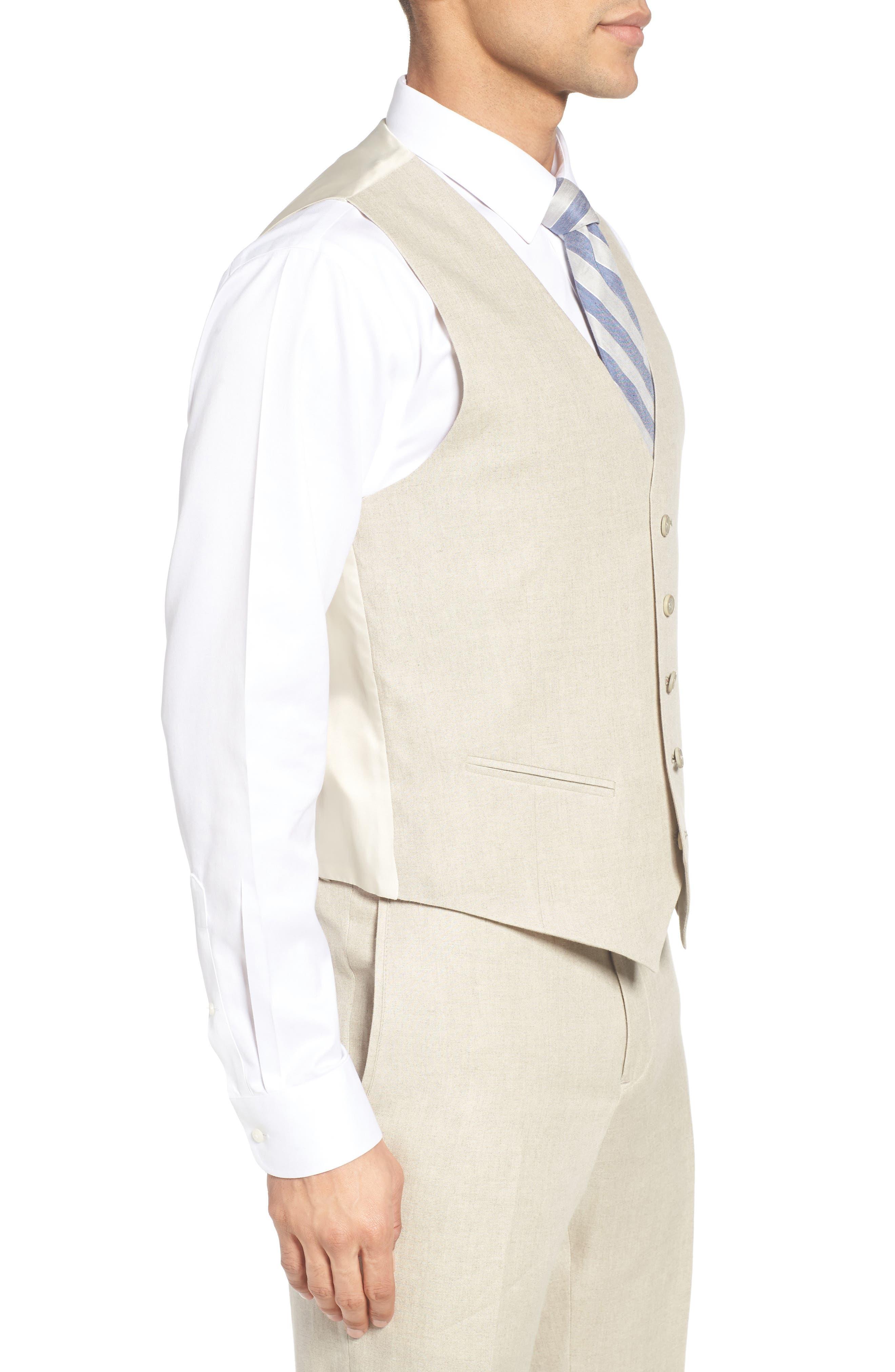 Trim Fit Solid Linen Vest,                             Alternate thumbnail 3, color,