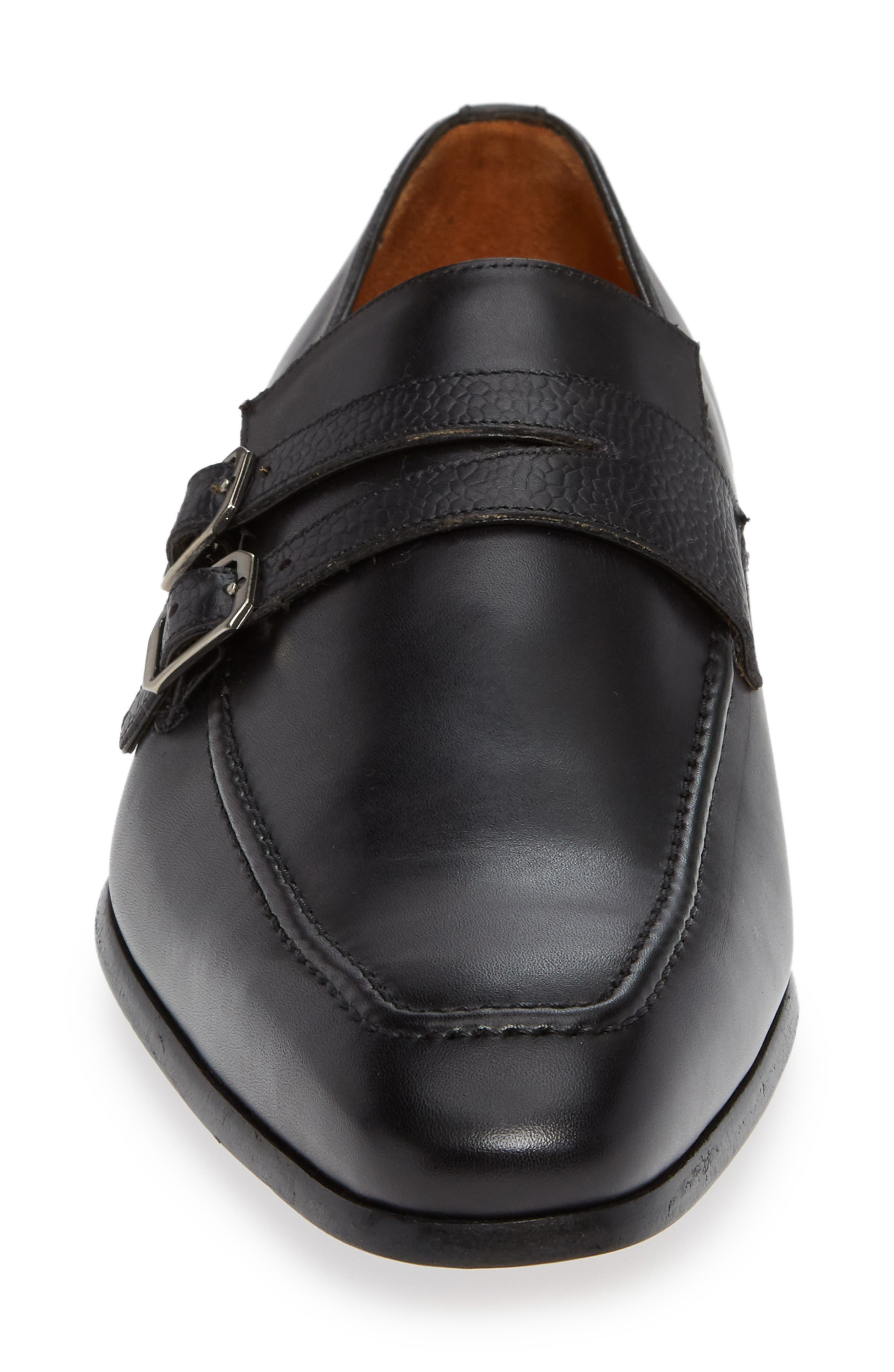 Callas Double Buckle Loafer,                             Alternate thumbnail 4, color,                             BLACK LEATHER