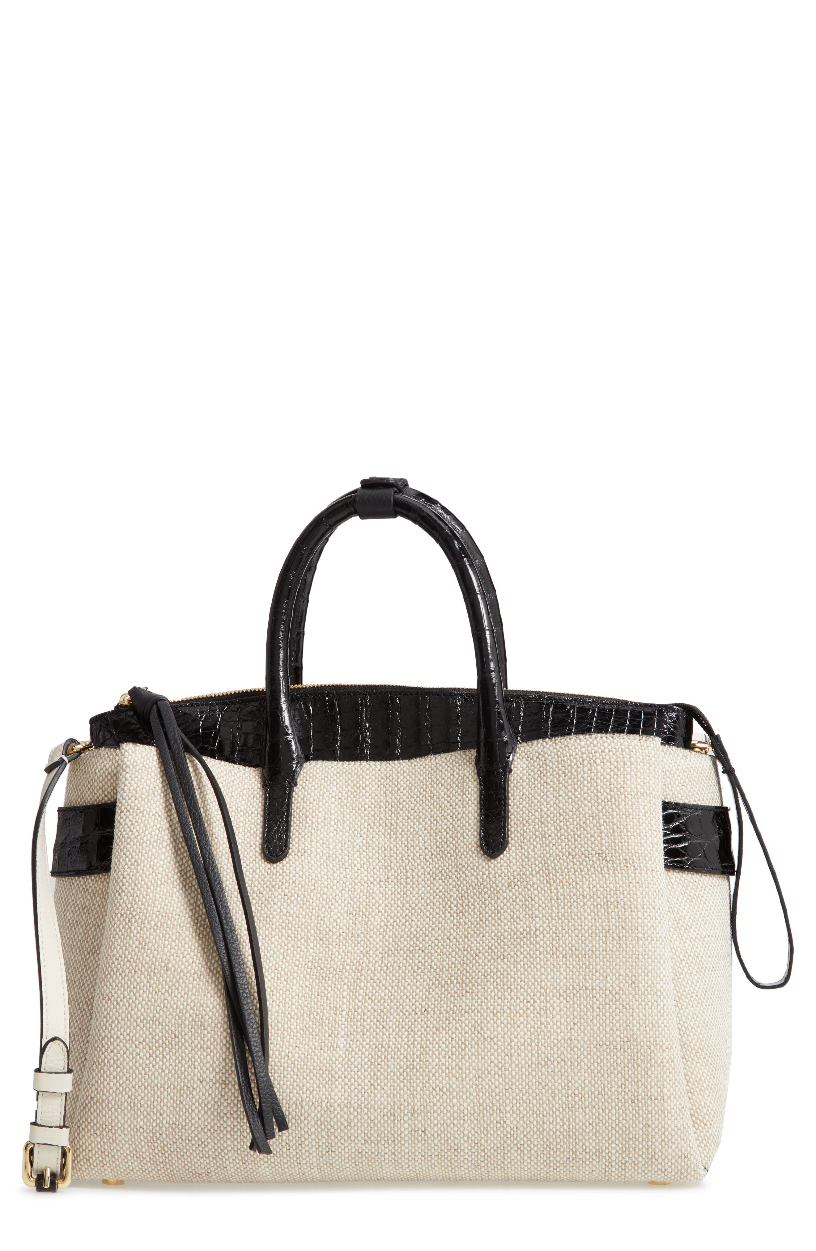 Large Cristie Linen & Genuine Crocodile Tote,                             Main thumbnail 1, color,                             LINEN/ BLACK