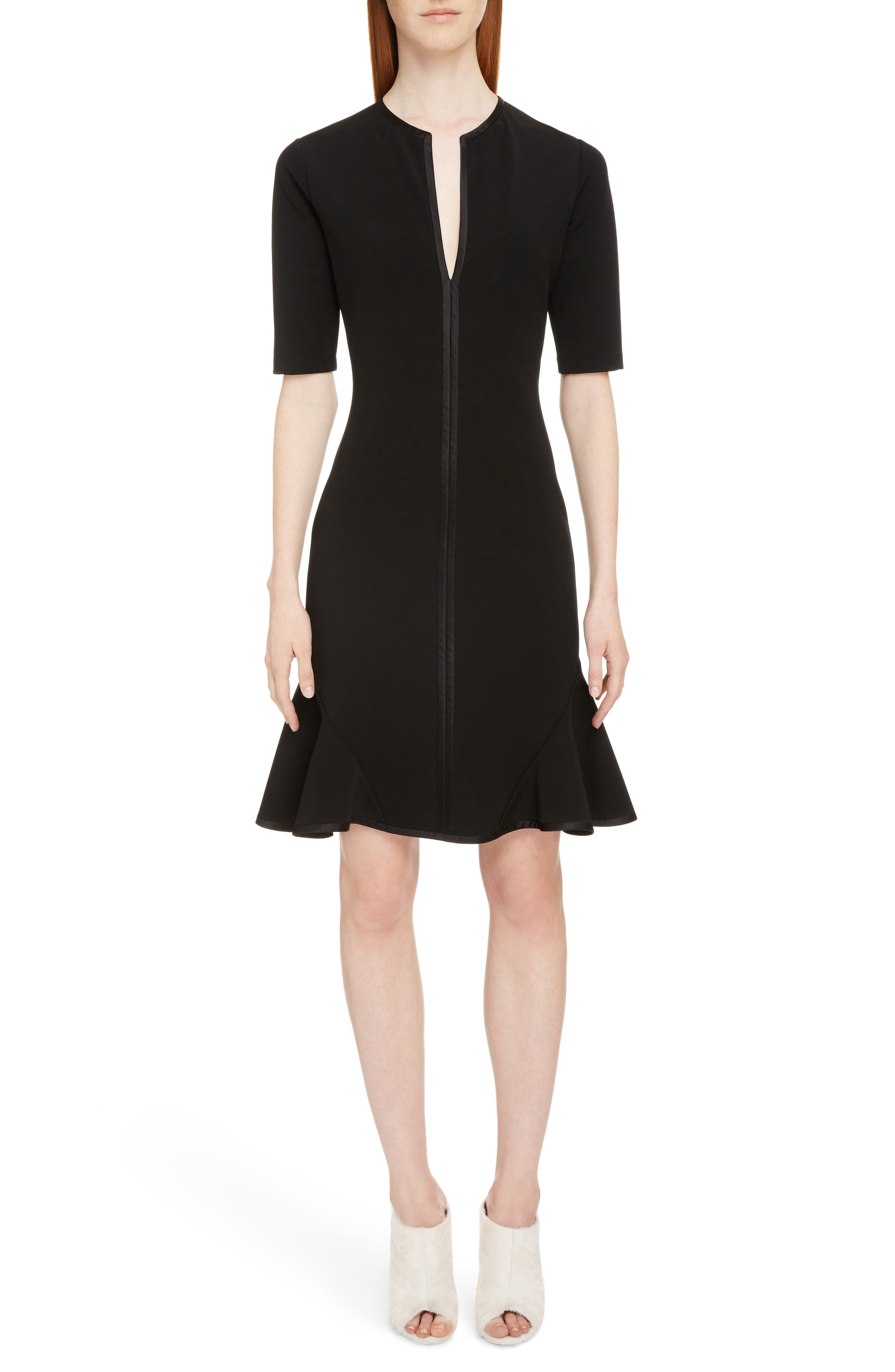 Split Neck Punto Milano Dress,                             Main thumbnail 1, color,                             001