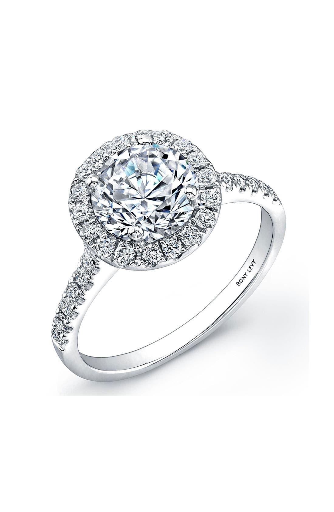 Pavé Diamond Leaf Engagement Ring Setting, Main, color, WHITE GOLD