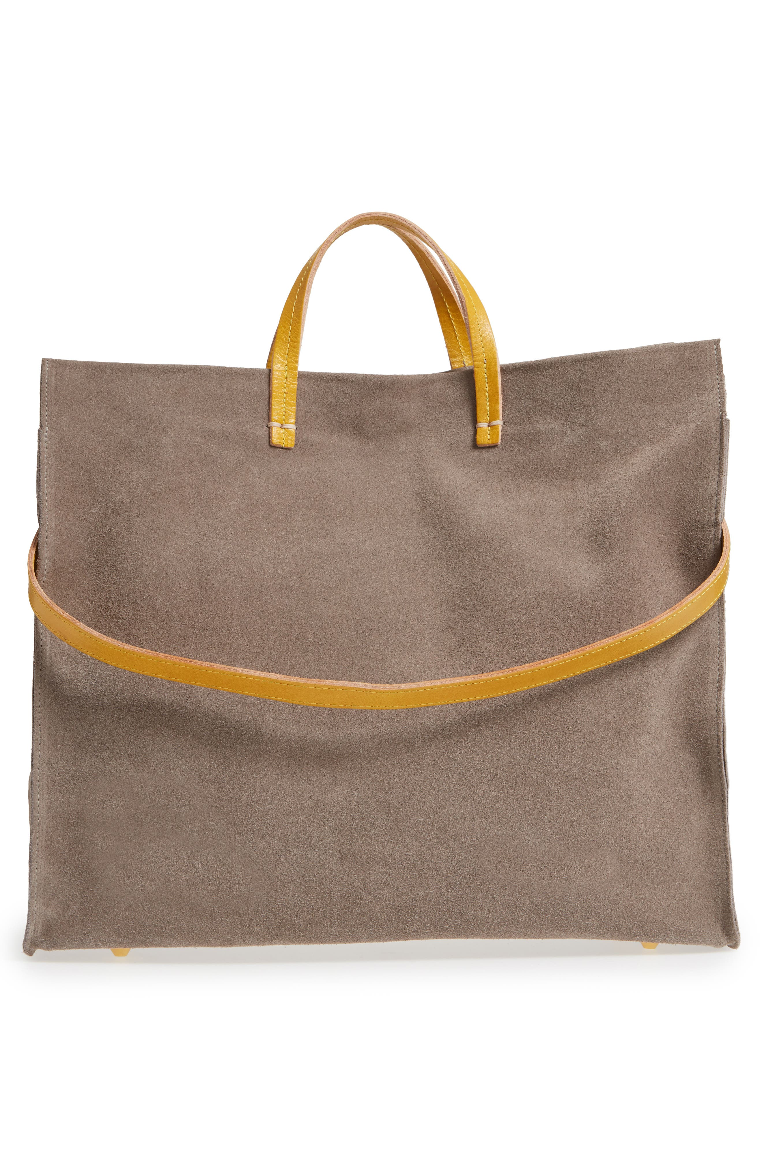 Simple Suede Tote,                             Alternate thumbnail 3, color,                             TAUPE/ YELLOW RUSTIC