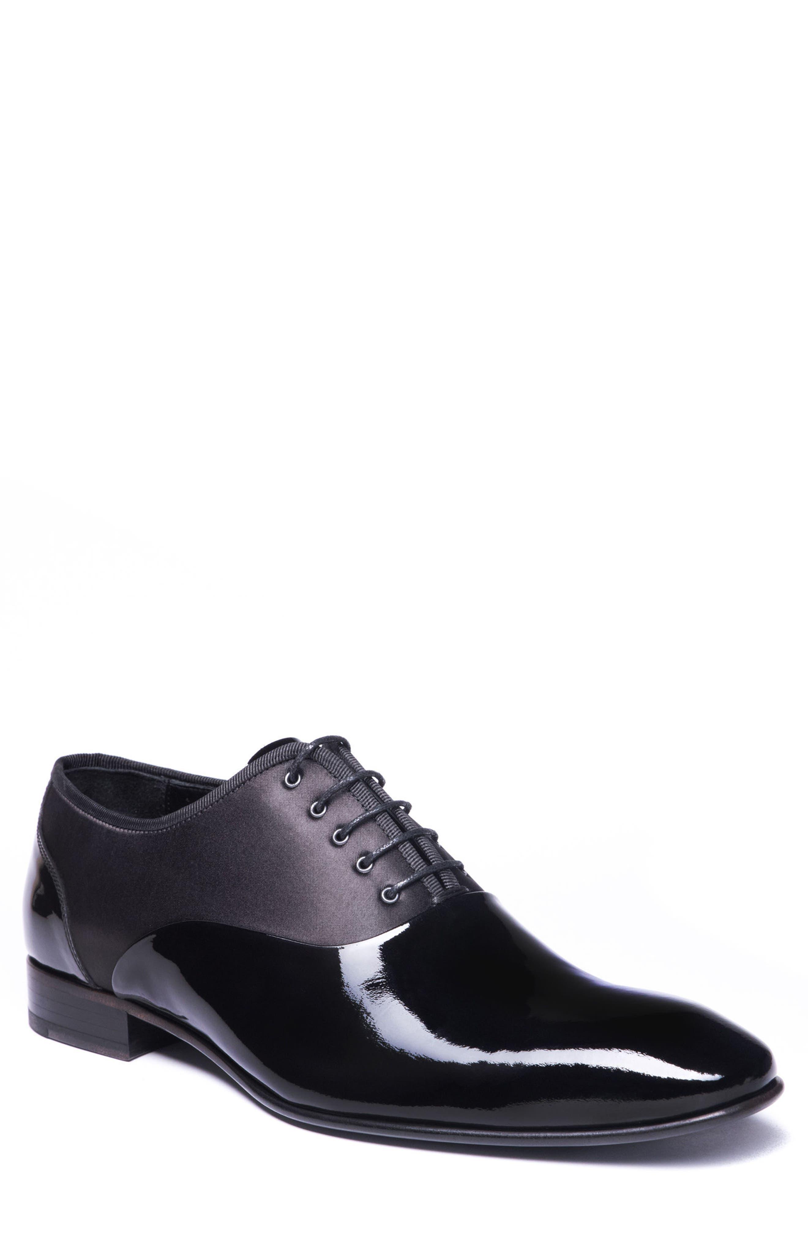 Stefano Plain Toe Oxford,                         Main,                         color, BLACK LEATHER
